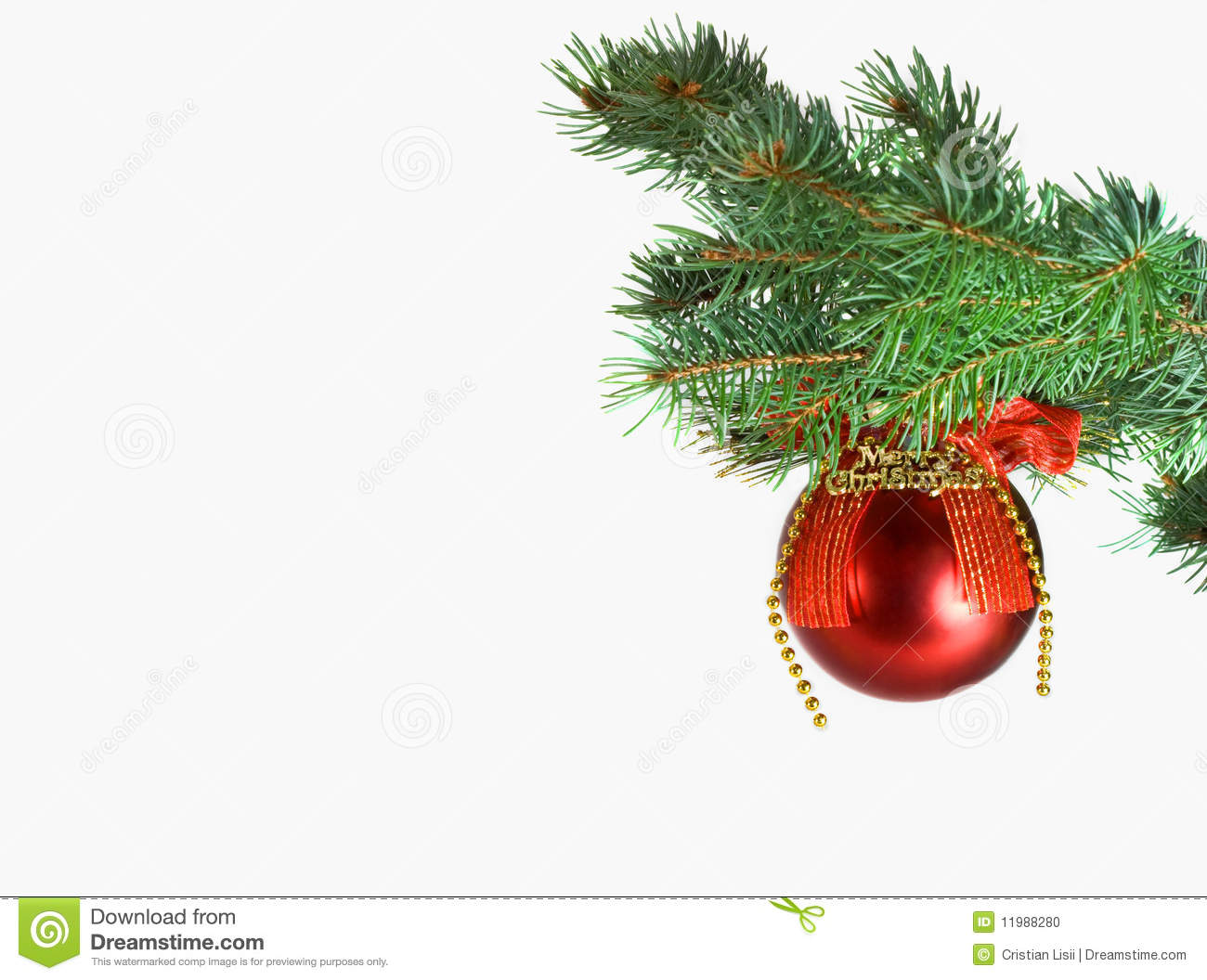 Christmas red ball and green tree stock photo image for Red green christmas tree
