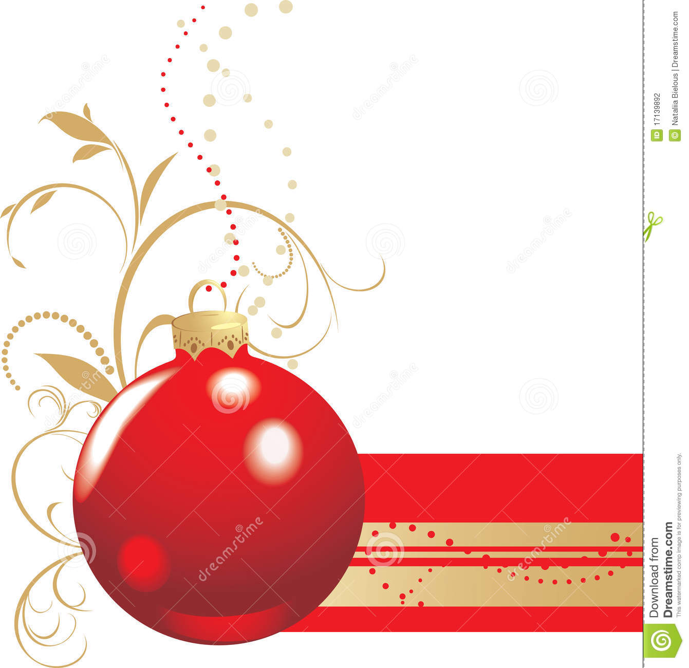 Christmas Red Ball With Ornament. Banner Stock Photography ...