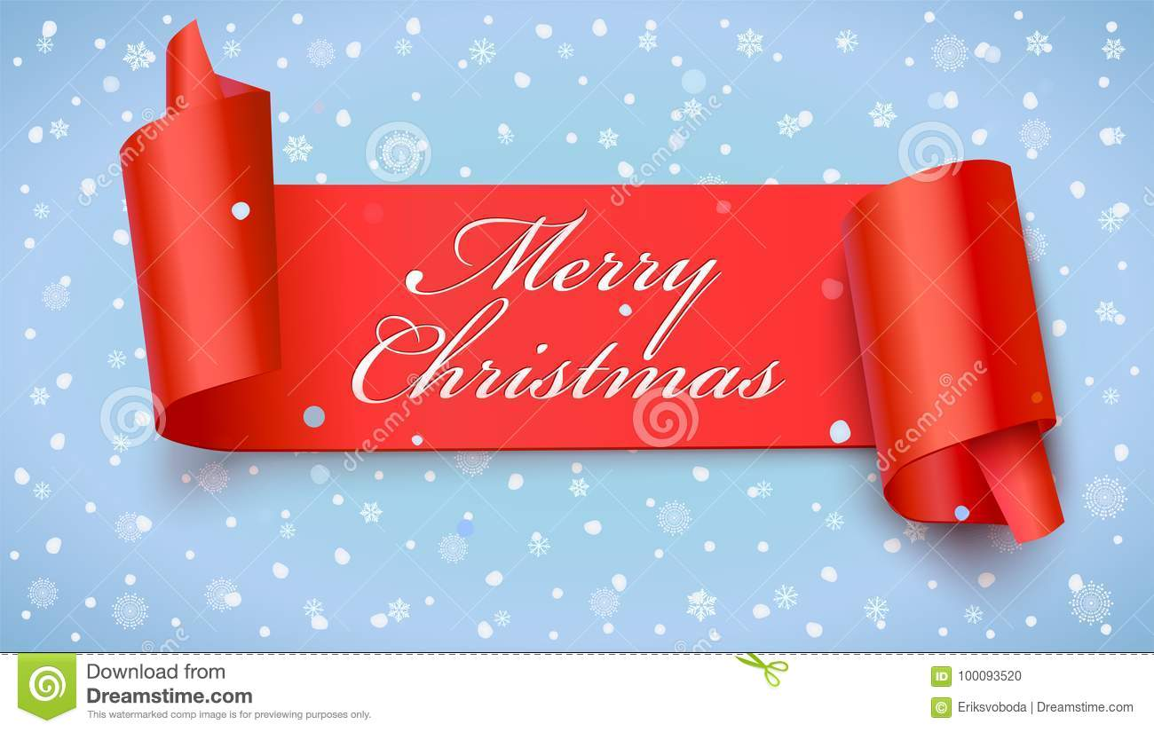 christmas red banner with greeting text 3d illustration new year banner on falling snowflakes