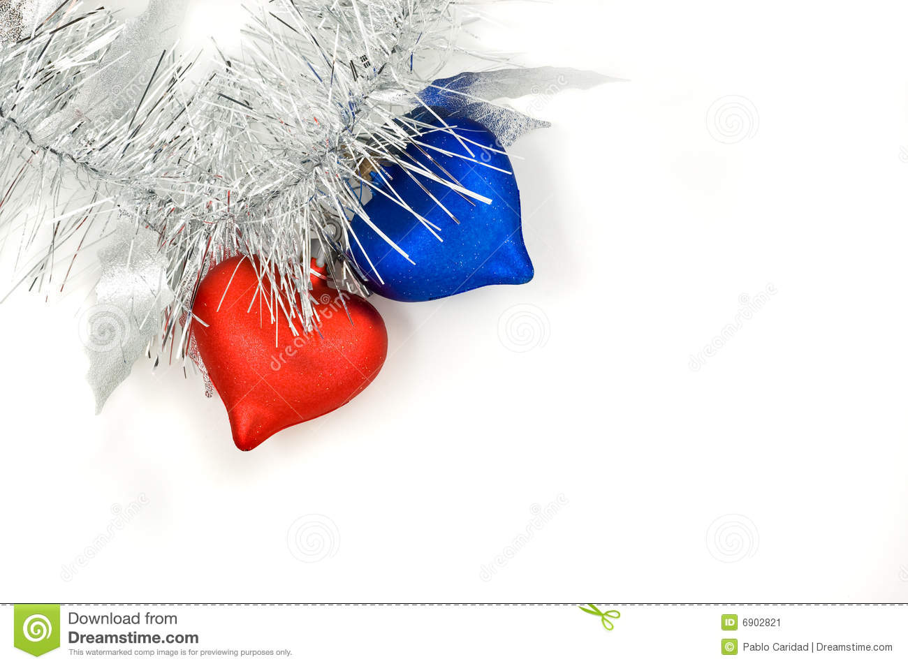 Christmas red and blue hearts stock image