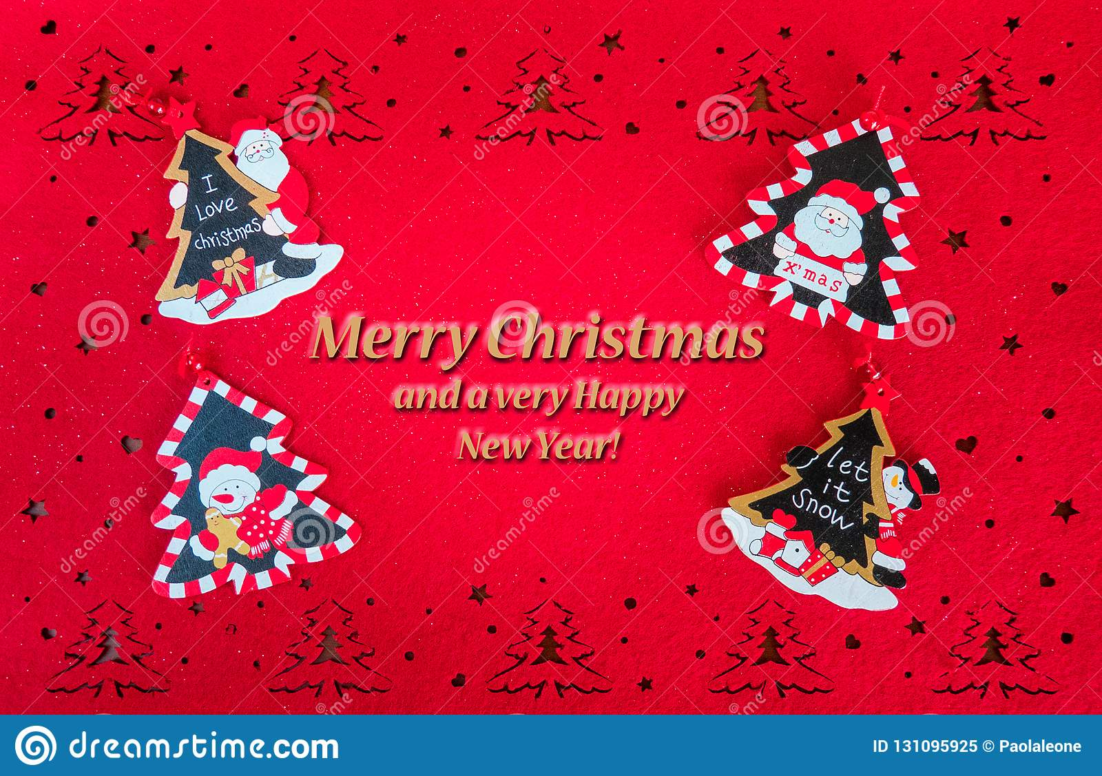 Christmas Red Card with Greetings Text, and Decorations Trees, Santa and Snowmen
