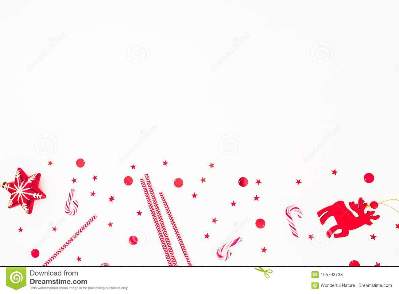 Christmas Red Decoration, Candy Cane And Confetti On White