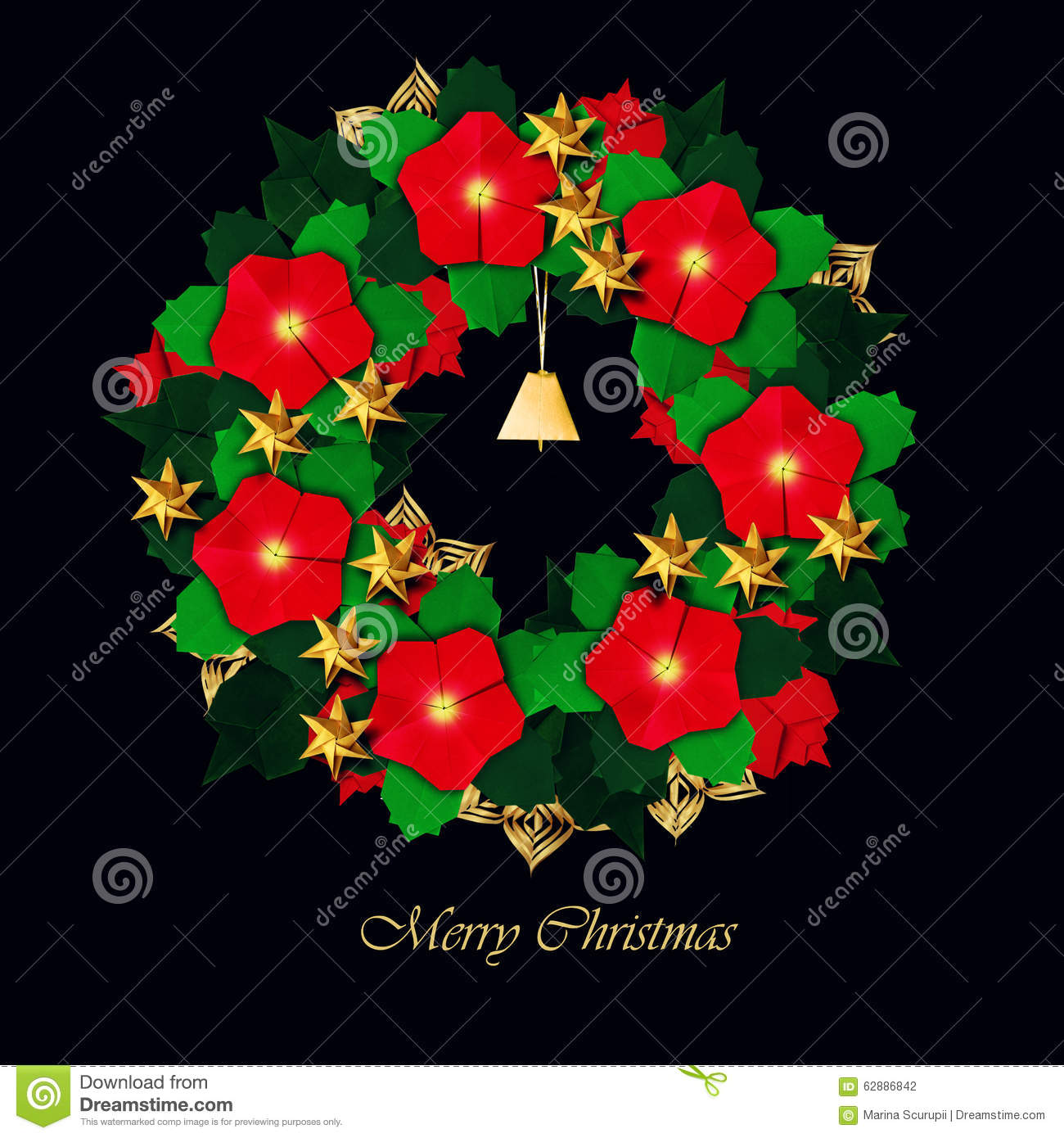 Christmas Red Flower Wreath Stock Photo Image Of Design