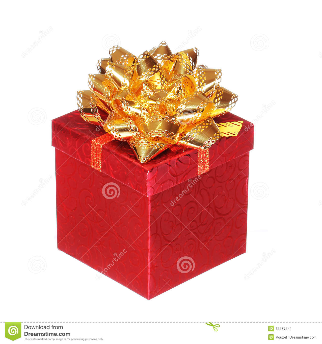 Christmas red gift box with gold ribbon bow isolated for Red with gold