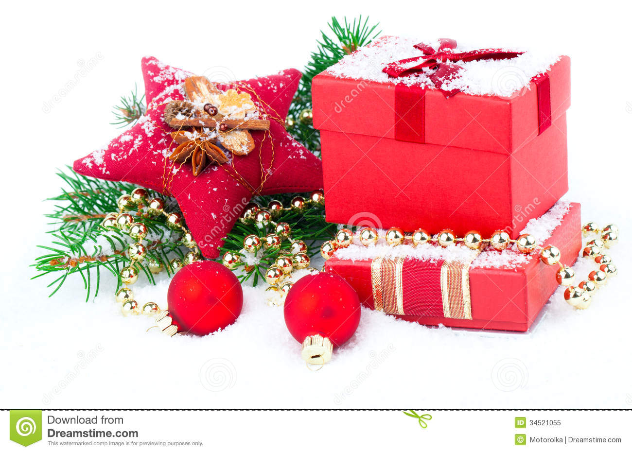 christmas red gift with festive decorations royalty free