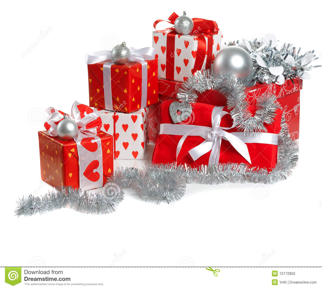 Christmas red gifts stock photo image of many piled