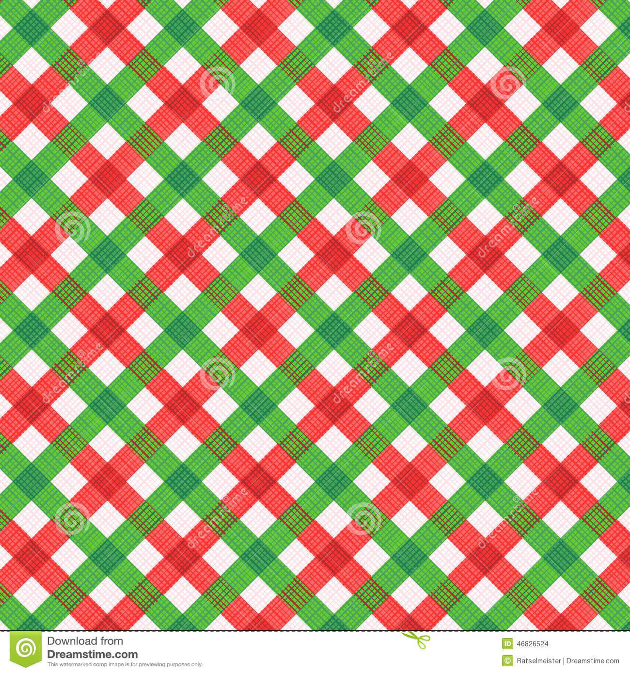 Christmas Red And Green Gingham Fabric, Seamless Pattern Included ...