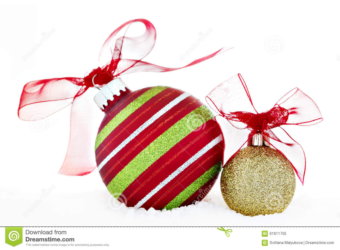 Red and gold christmas ornaments - Christmas Red Green Gold Ball Ornaments With Ribbon Snow Royalty Free Stock Photo