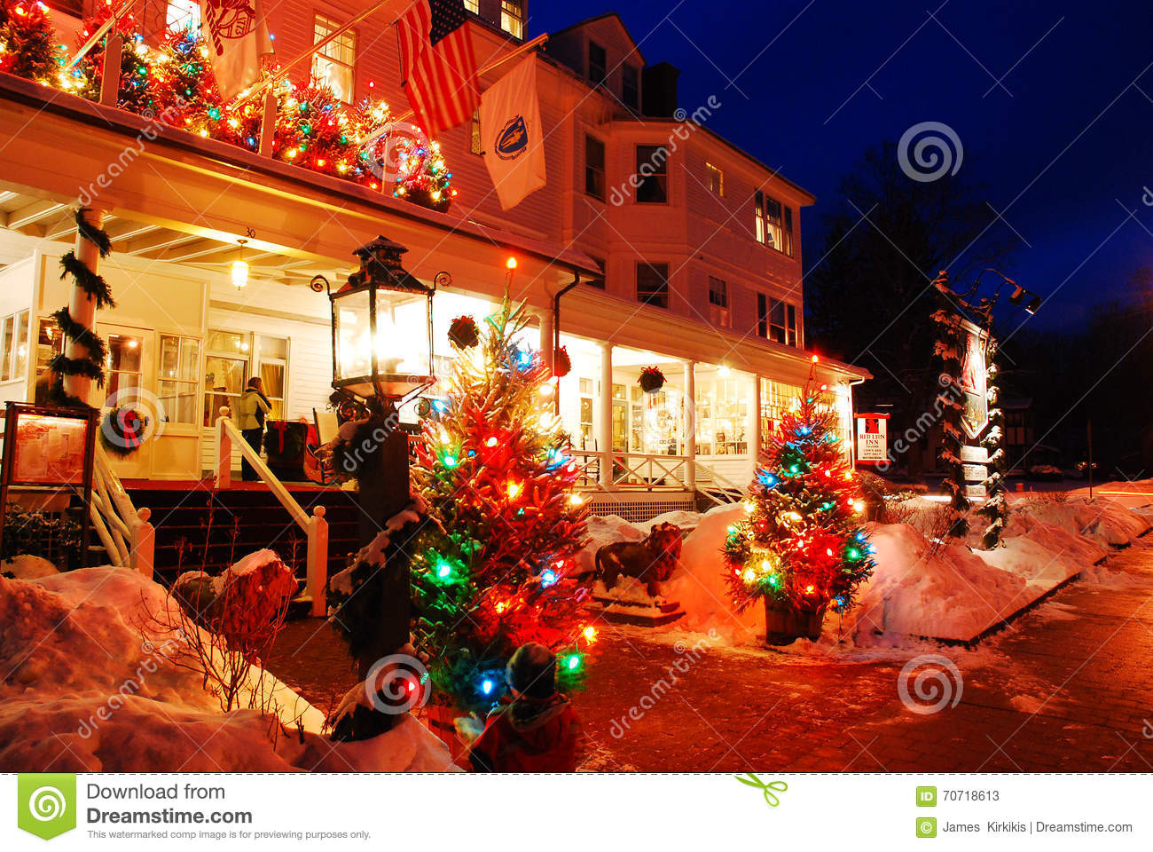 christmas at the red lion inn editorial stock photo. Black Bedroom Furniture Sets. Home Design Ideas