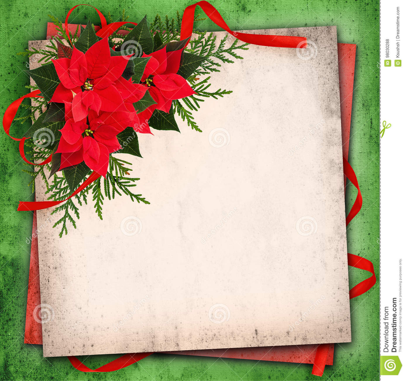 Christmas Red Poinsettia Flowers Arrangement And Red Ribbon Bow