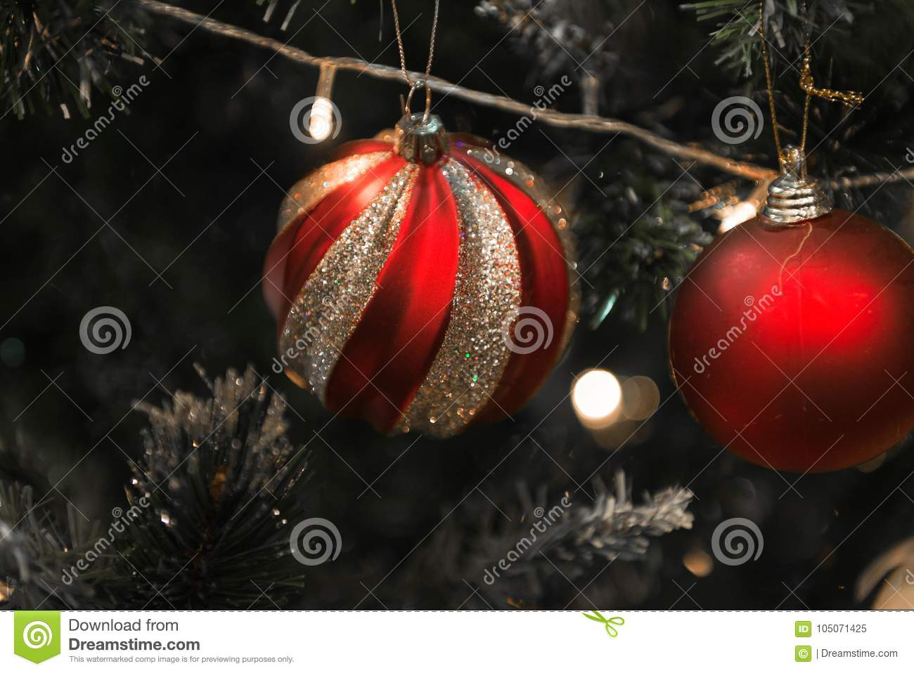 christmas red and silver ball on a beautiful christmas tree - Christmas Tree With Red And Silver Decorations