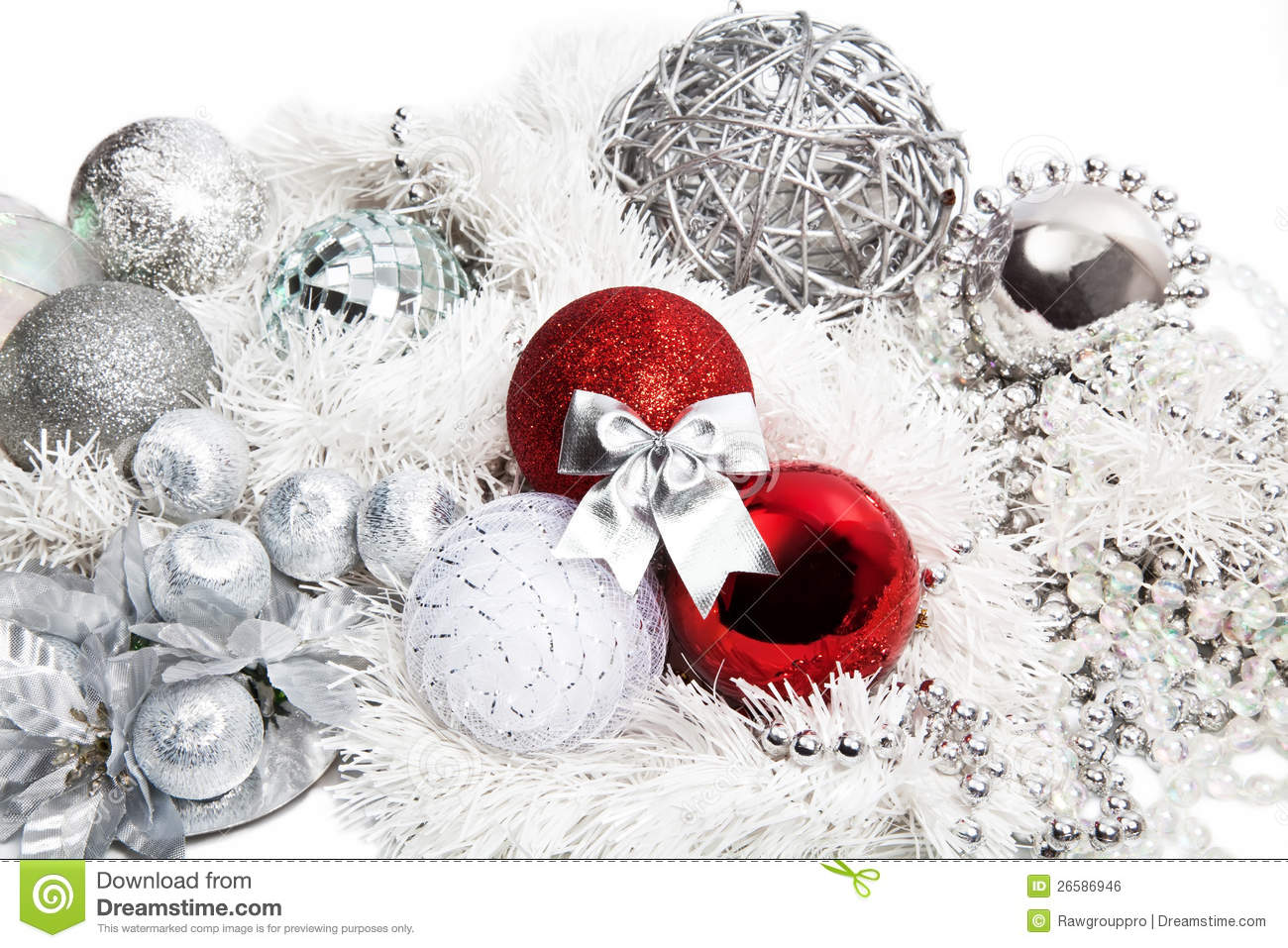 christmas red and silver decorations stock photo image