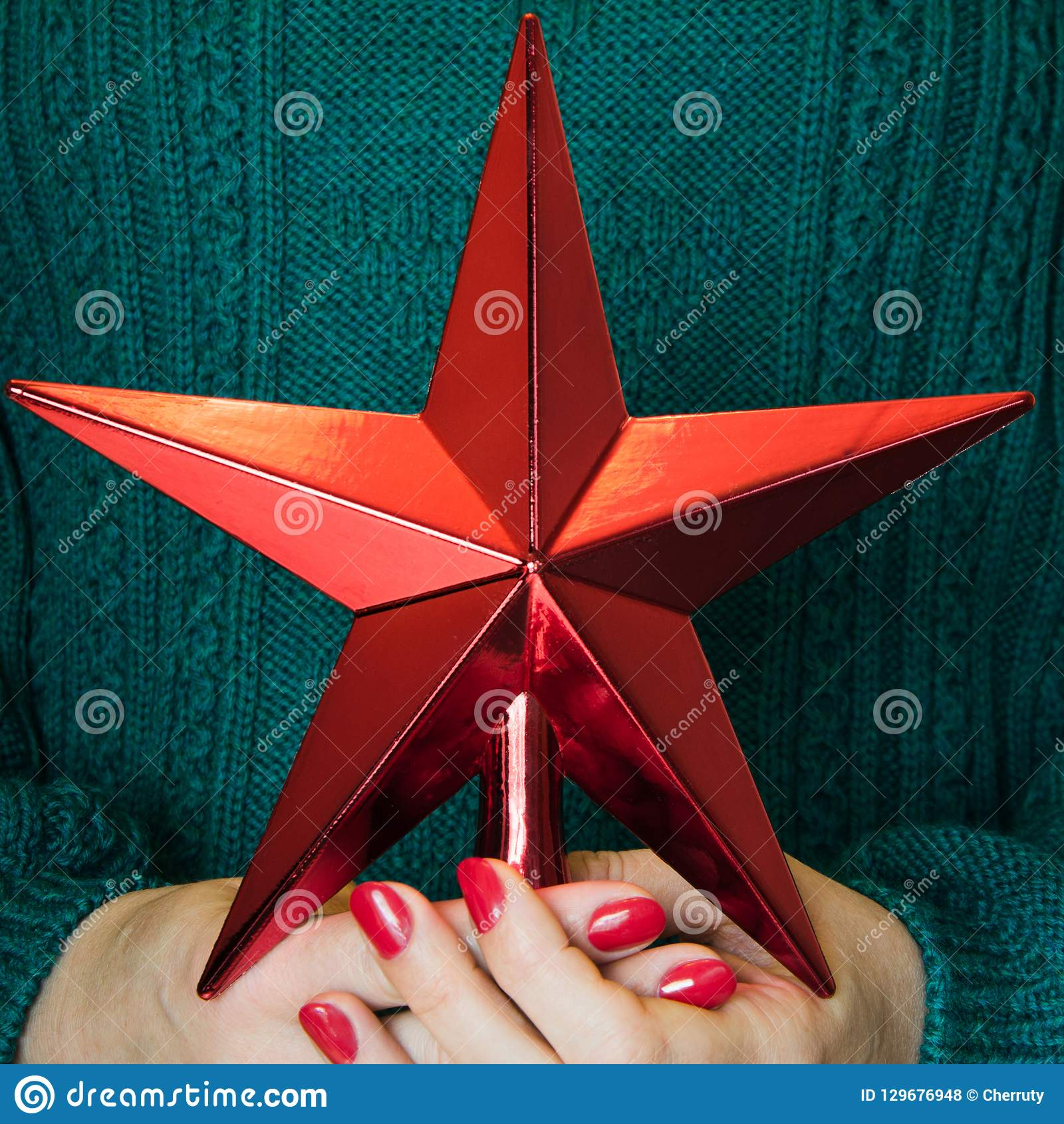 Christmas Ornament Tops.Christmas Red Star For Tops Chistmas Tree In Women Hand Joy
