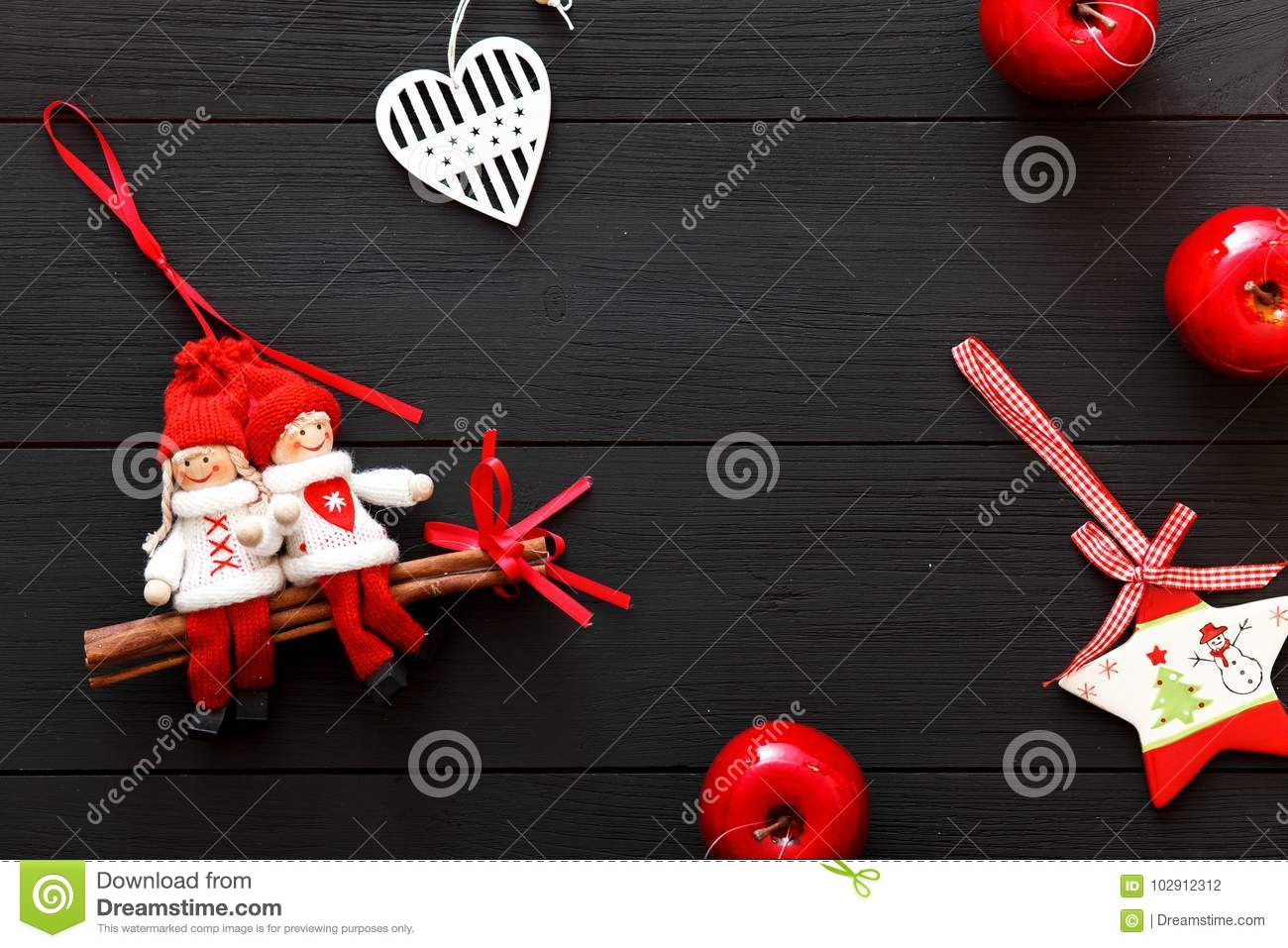 download handmade red white christmas decorations on black wooden background happy new 2018 year valentines