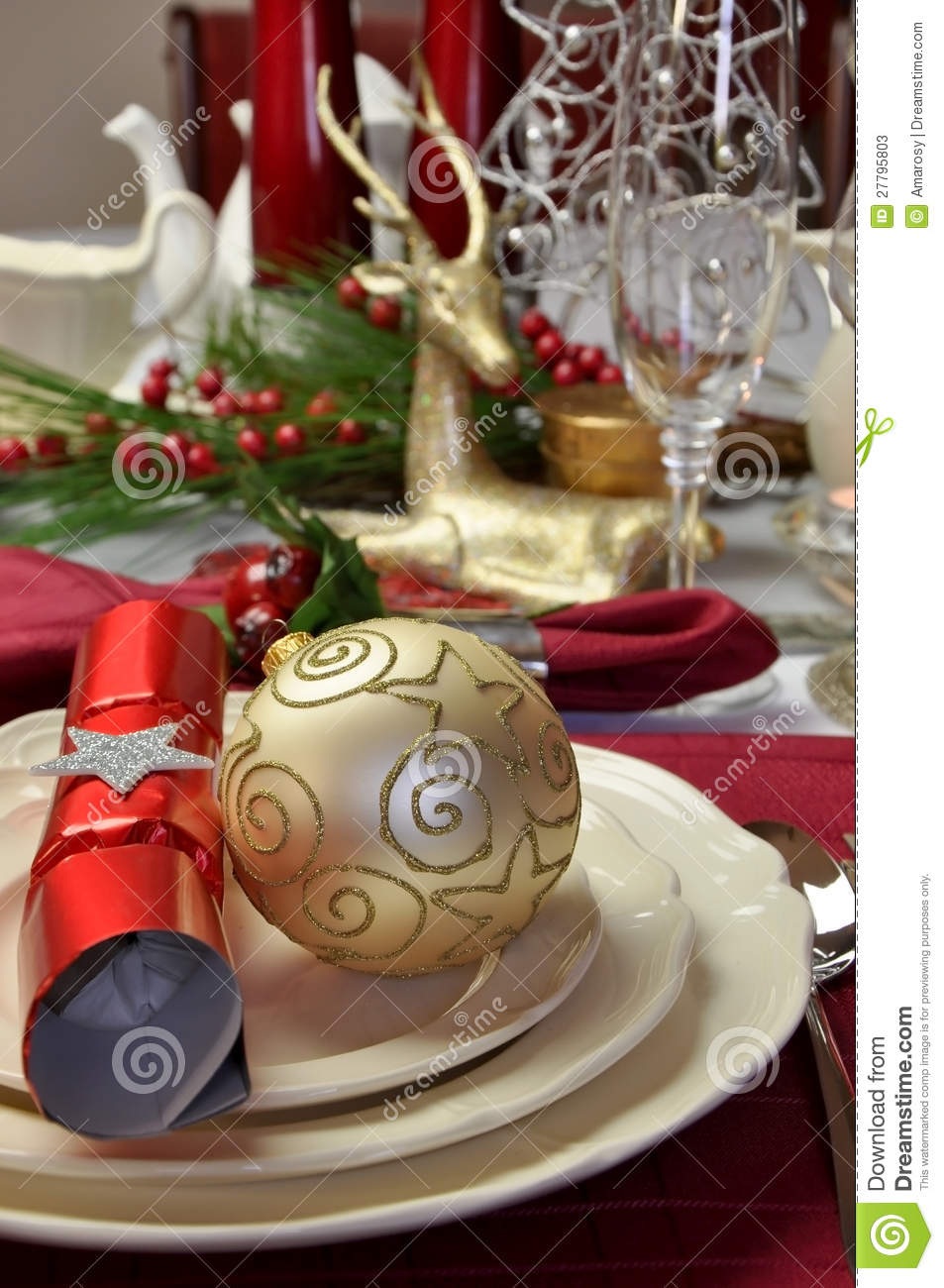Christmas Red And White Table Setting Closeup Stock Photos