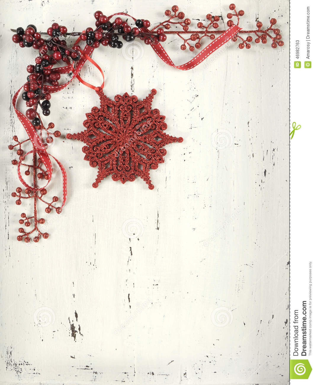 Christmas Red And White Vintage Wood Background. Stock