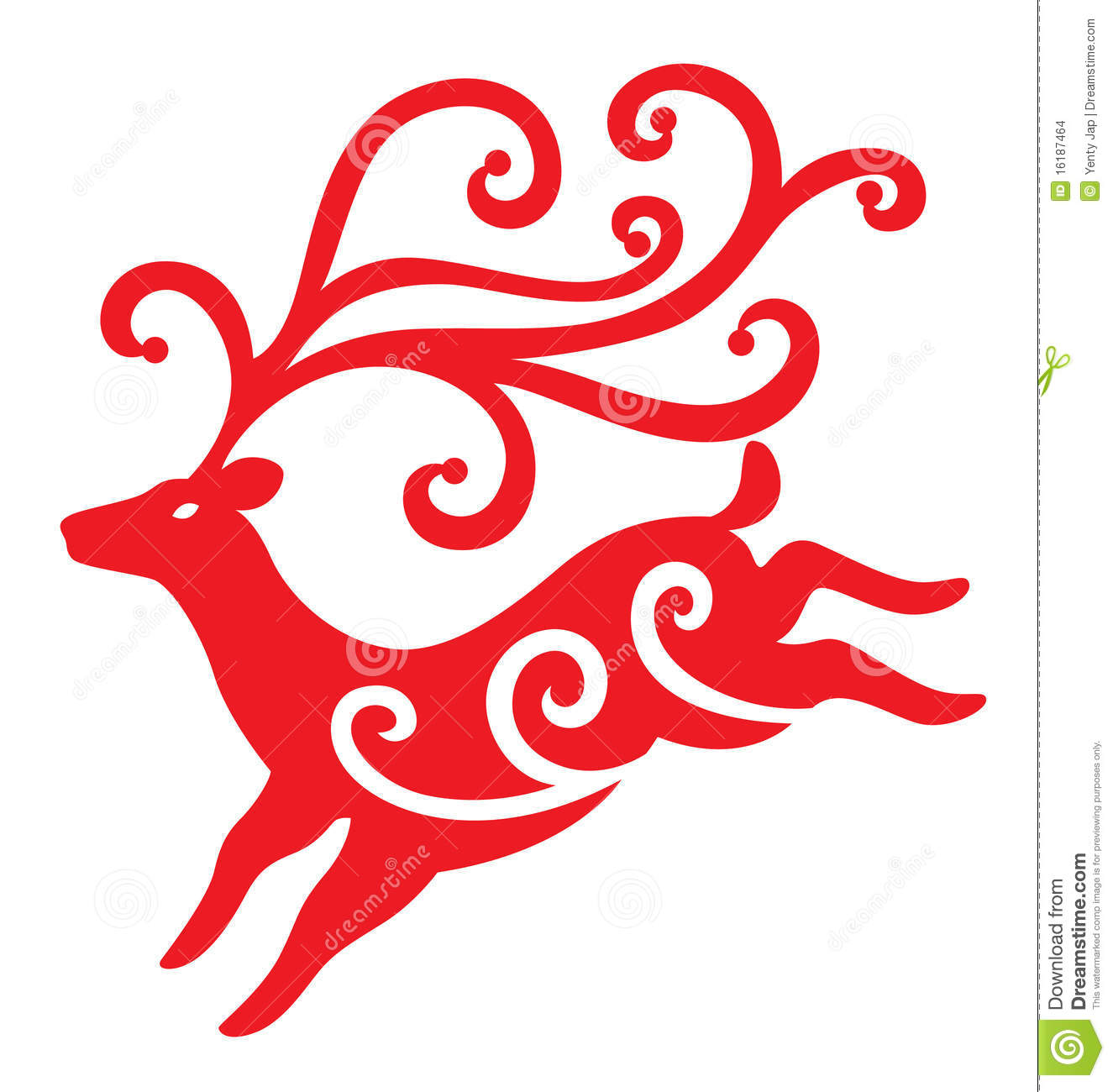reindeer illustrated with swirls decoration for Christmas season.