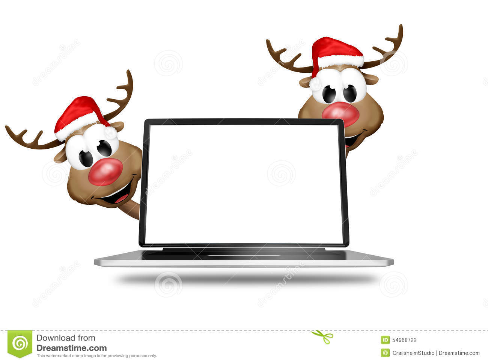 Christmas Reindeer Computer Stock Illustration - Image: 54968722
