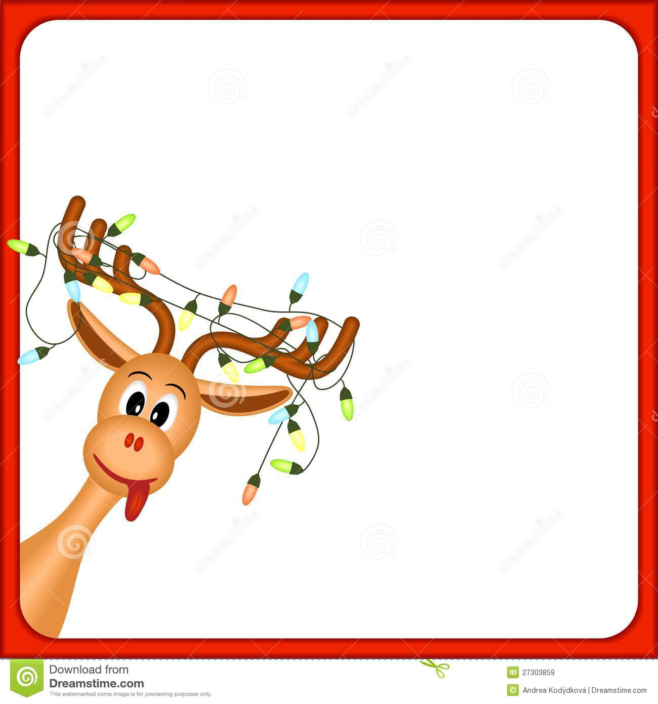 Christmas Reindeer With Electric Lights In Antlers Royalty Free Stock ...