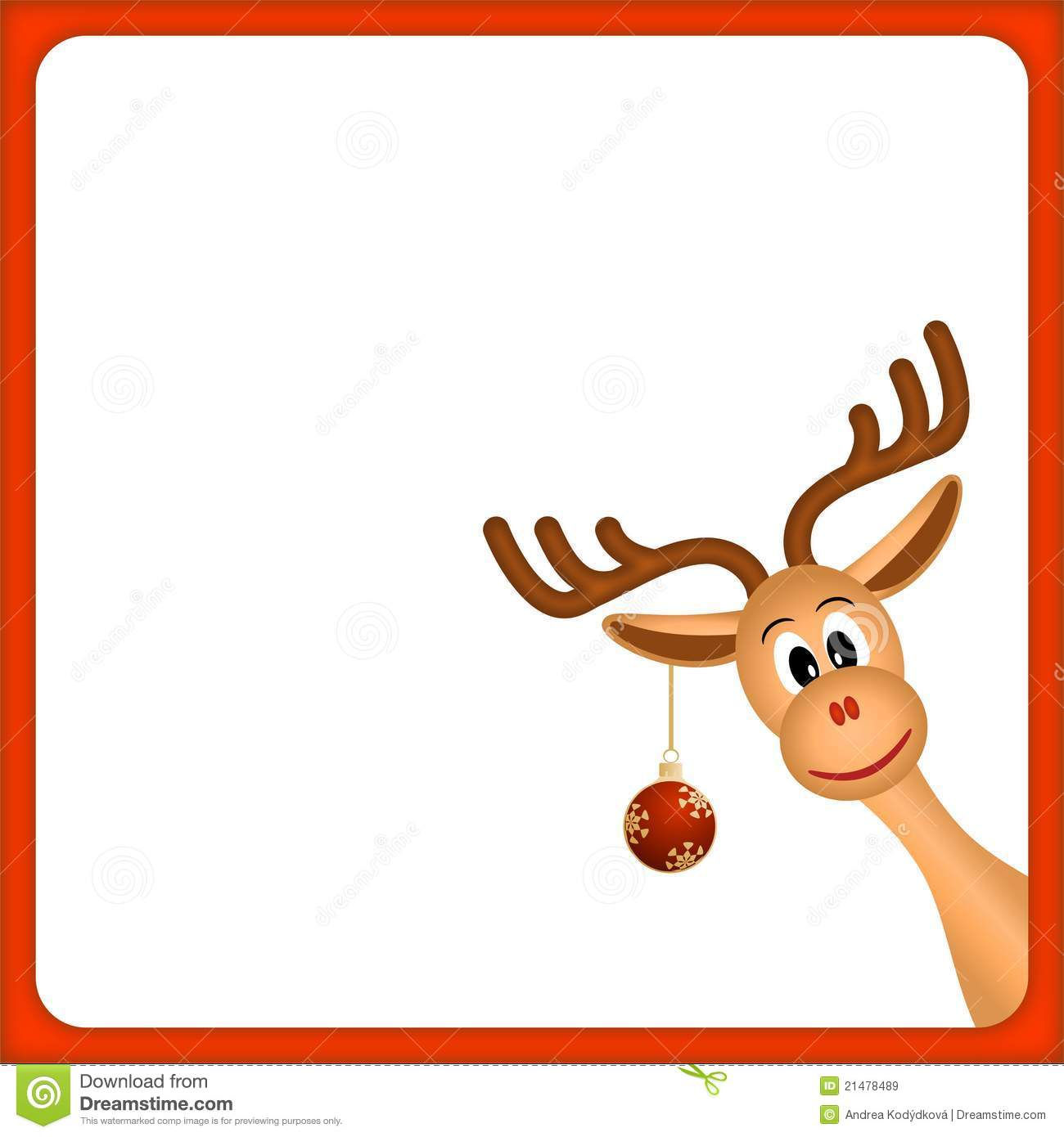christmas reindeer in empty frame with red border royalty free stock images image 21478489 Christmas Border Christmas Borders and Frames