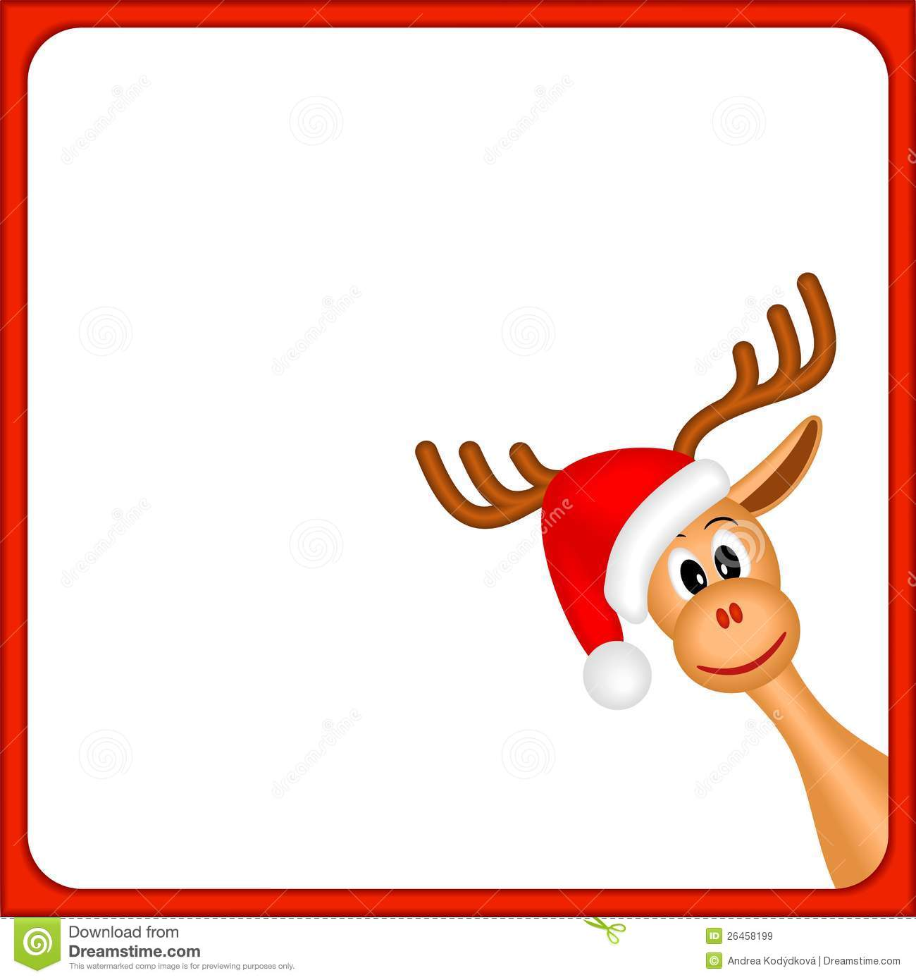 Christmas reindeer in empty frame with red border and white background ...