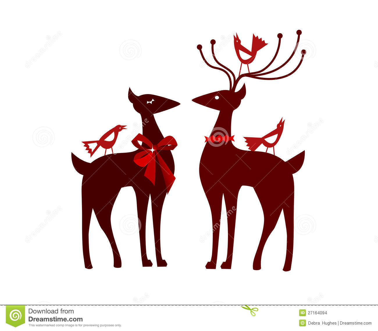 Christmas Reindeer With Nordic Birds Stock Images - Image: 27164094