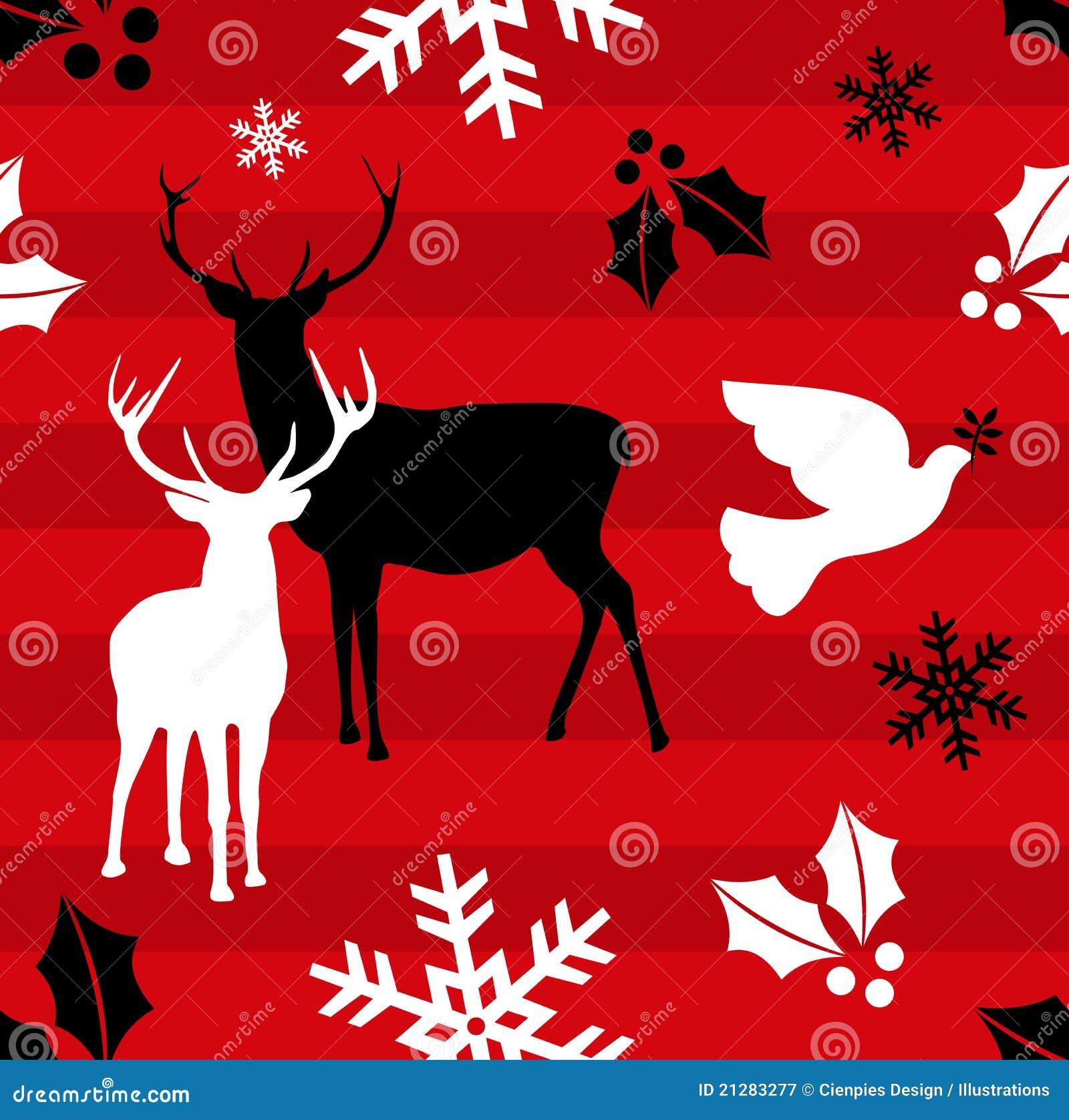Christmas Reindeer Pattern Background Royalty Free Stock