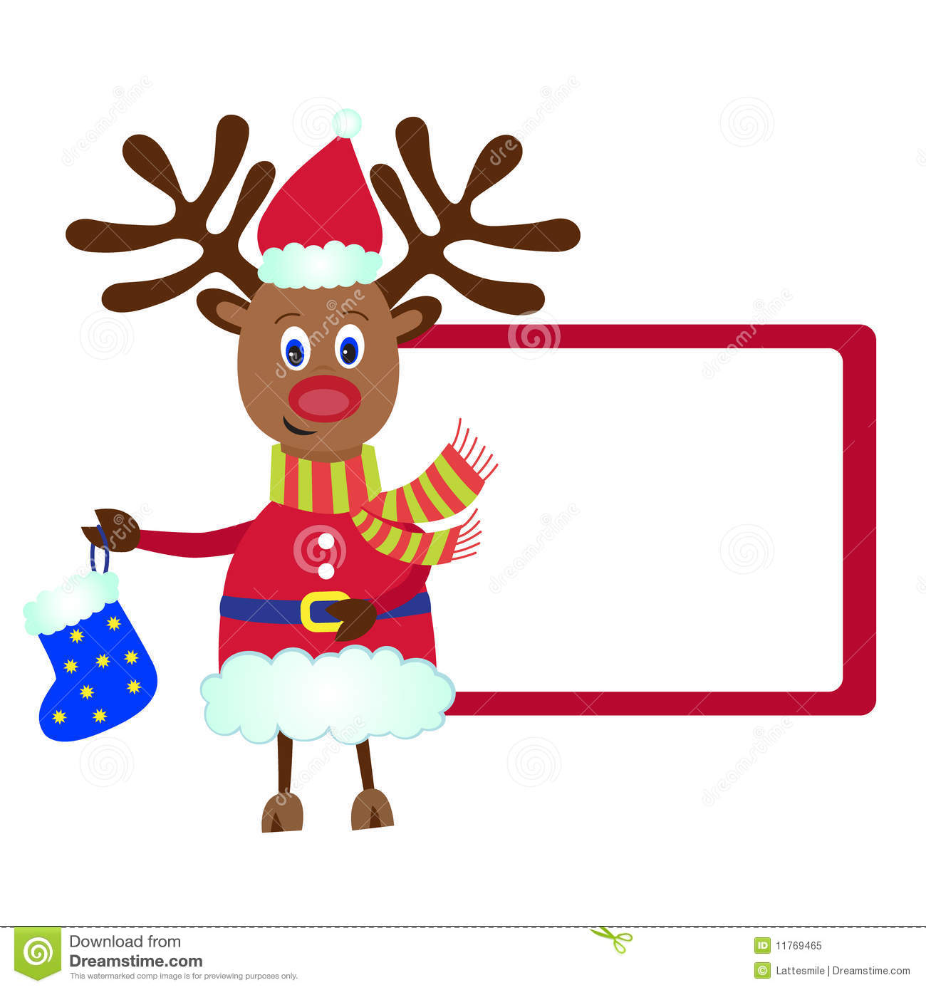 Christmas Reindeer Rudolf With A Gift Royalty Free Stock
