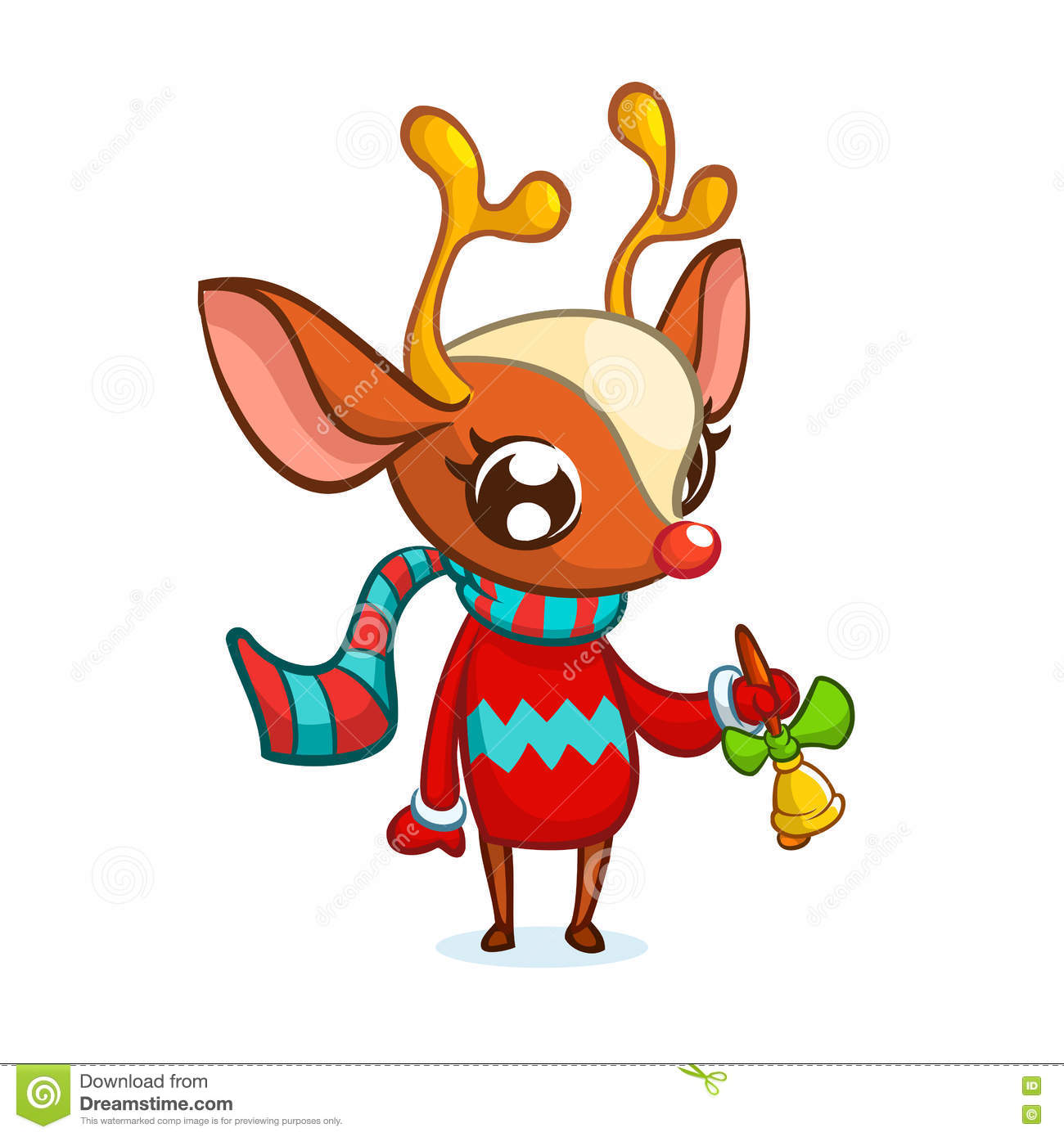 9300bd08b5664 Christmas reindeer in Santa hat ringing a bell. Vector illustration  isolated.