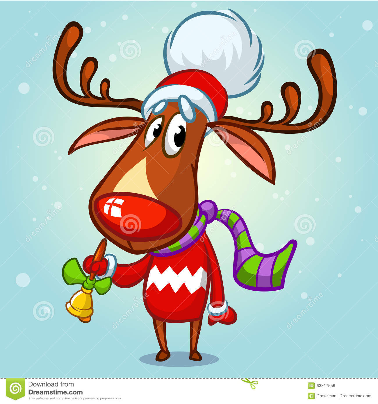 1a469f7806696 Christmas reindeer in Santa hat ringing a bell. Vector illustration on  snowy background