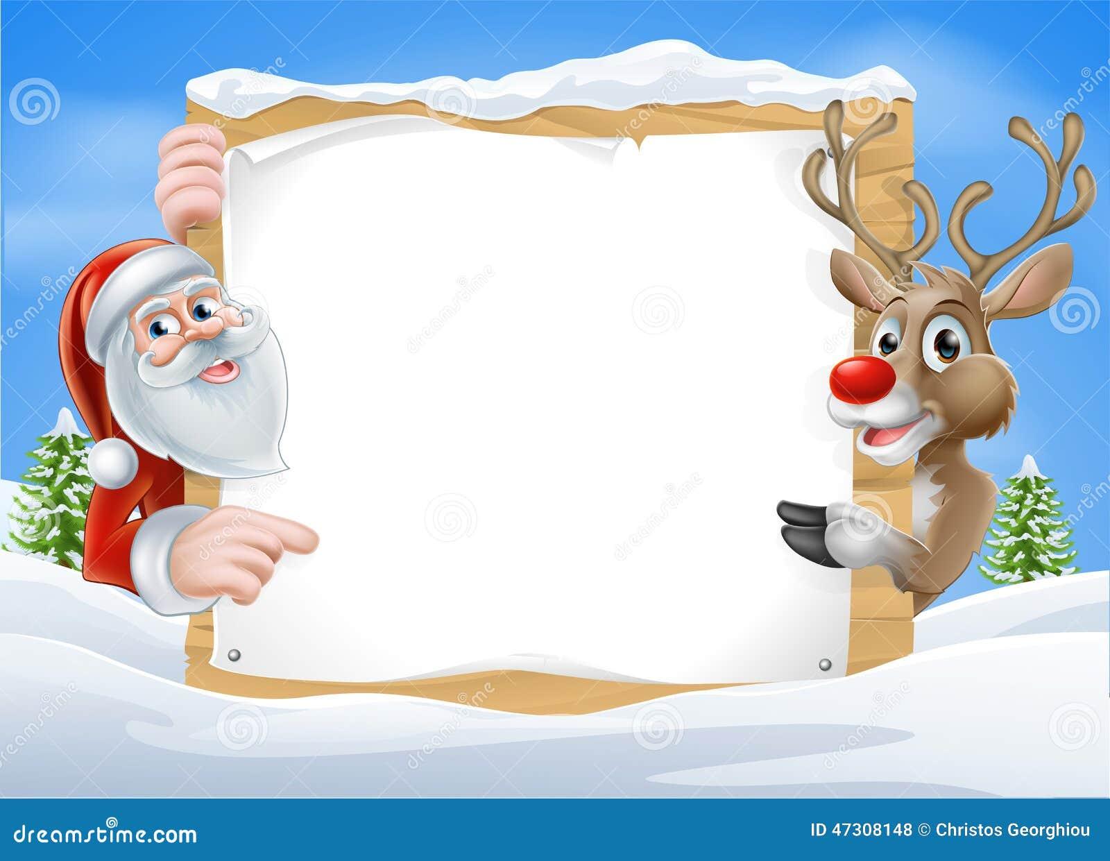 christmas reindeer and santa sign stock vector image santa claus clip art funny santa claus clipart free