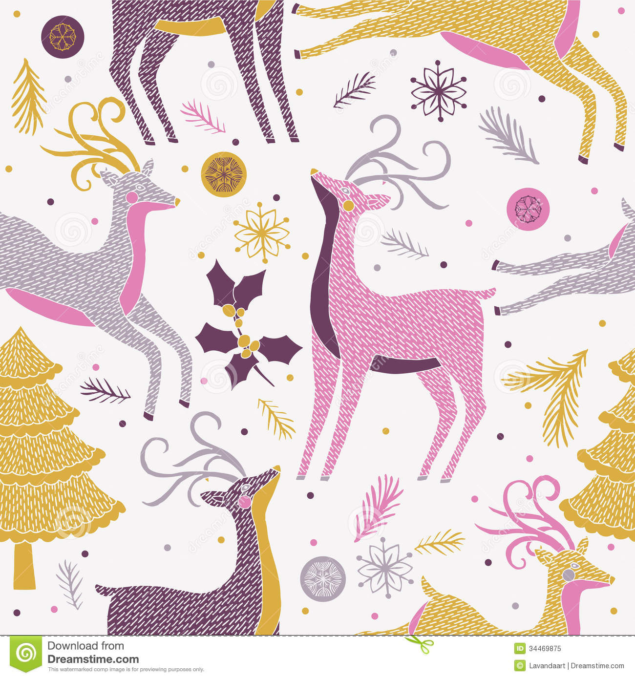 Christmas Reindeer Seamless Pattern Royalty Free Stock Photo - Image ...