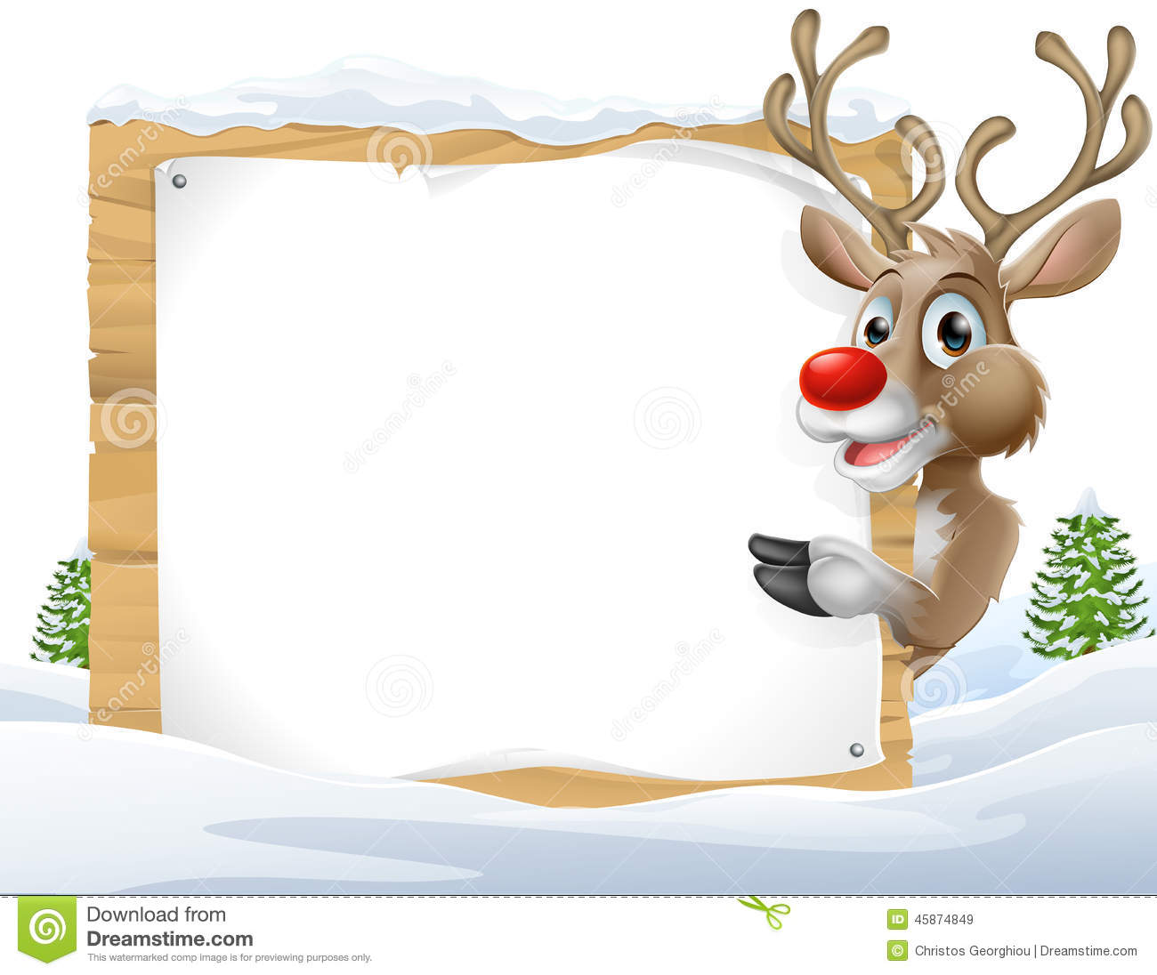 Christmas Reindeer Sign Stock Vector Illustration Of Drawing