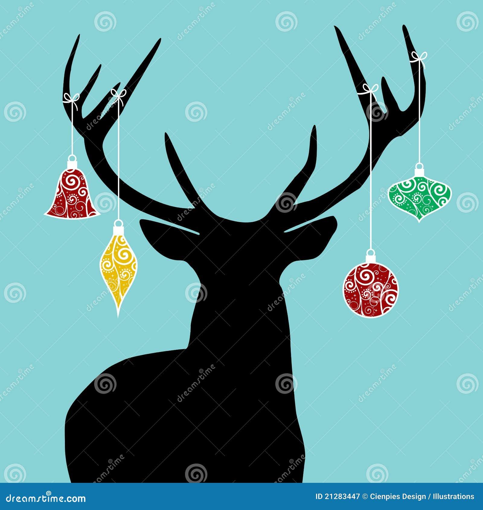 Flying reindeer silhouette christmas reindeer silhouette