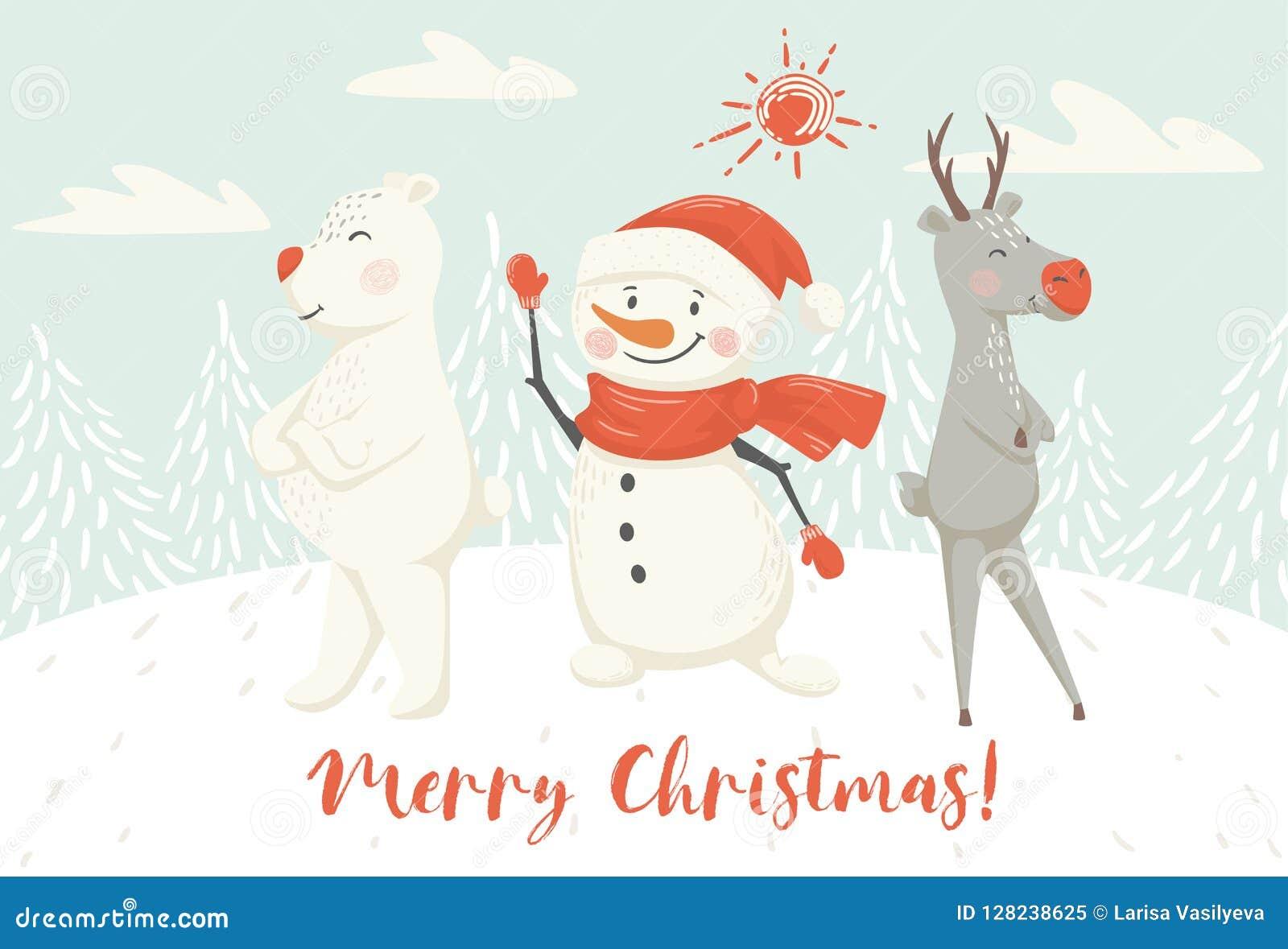 christmas reindeer snowman and bear scandinavian card new year greeting