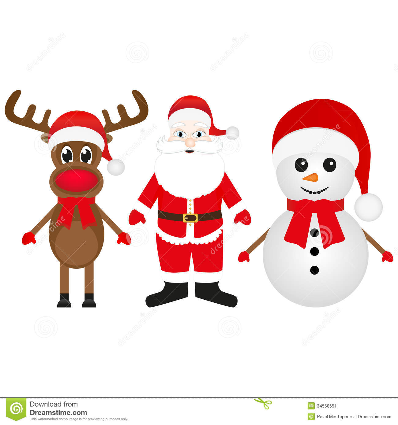 Christmas Reindeer, Snowman And Santa Claus Stock Image ...