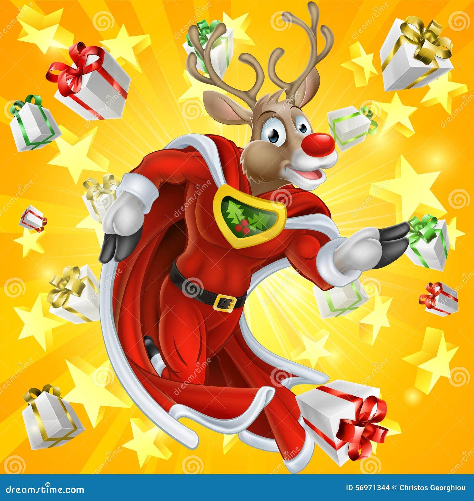 christmas reindeer superhero stock vector