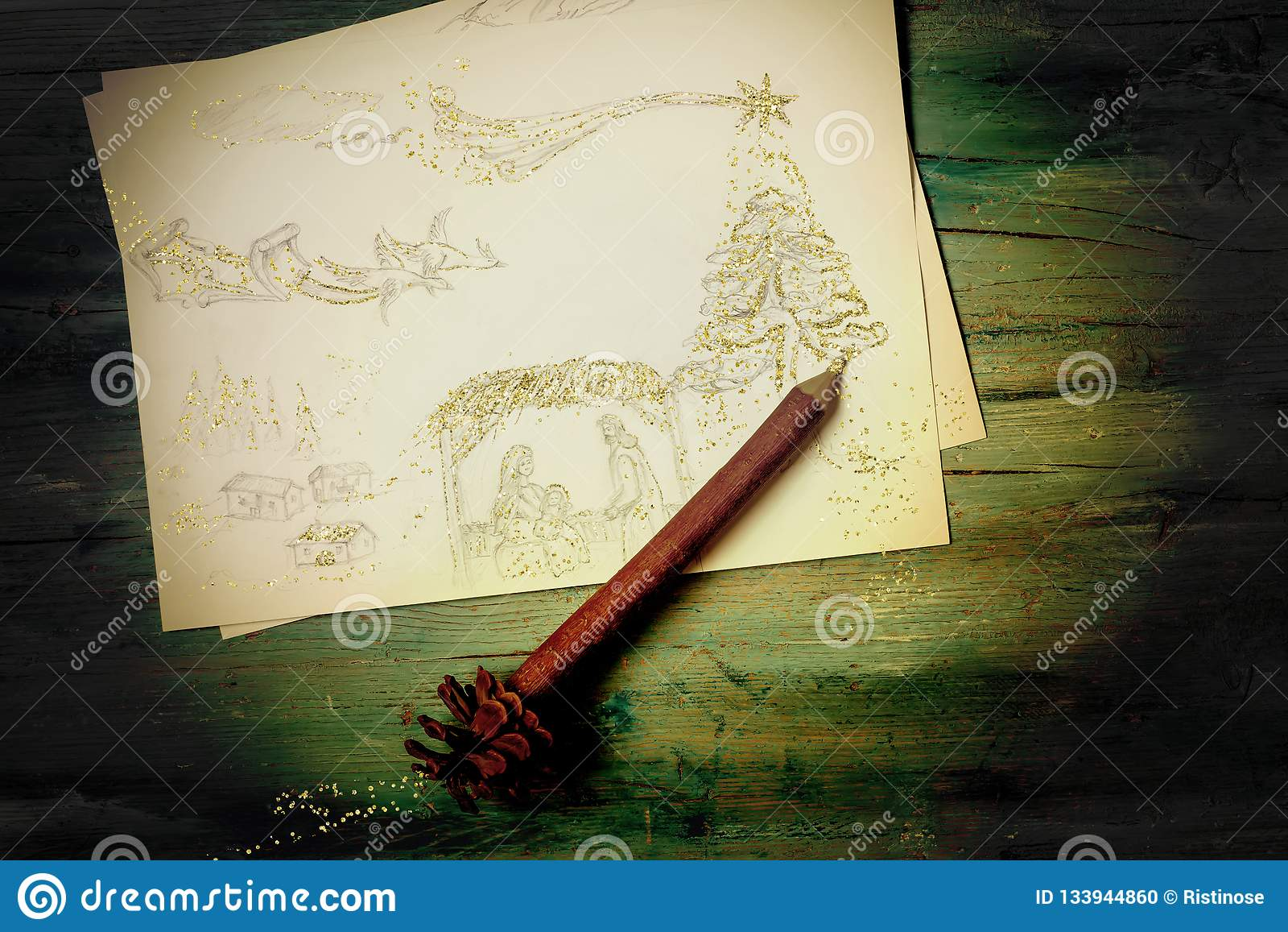 Christmas postcard nativity scene freehand drawing picture with an elf pencil and golden glitter on old wooden table