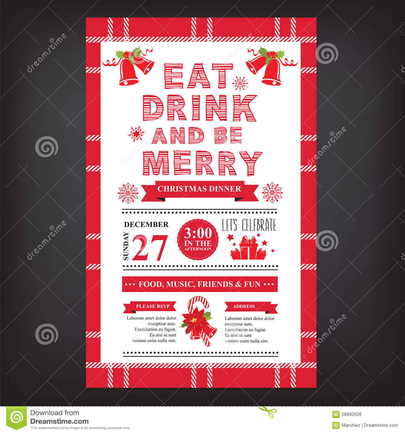 Christmas Restaurant And Party Menu Invitation Stock Vector