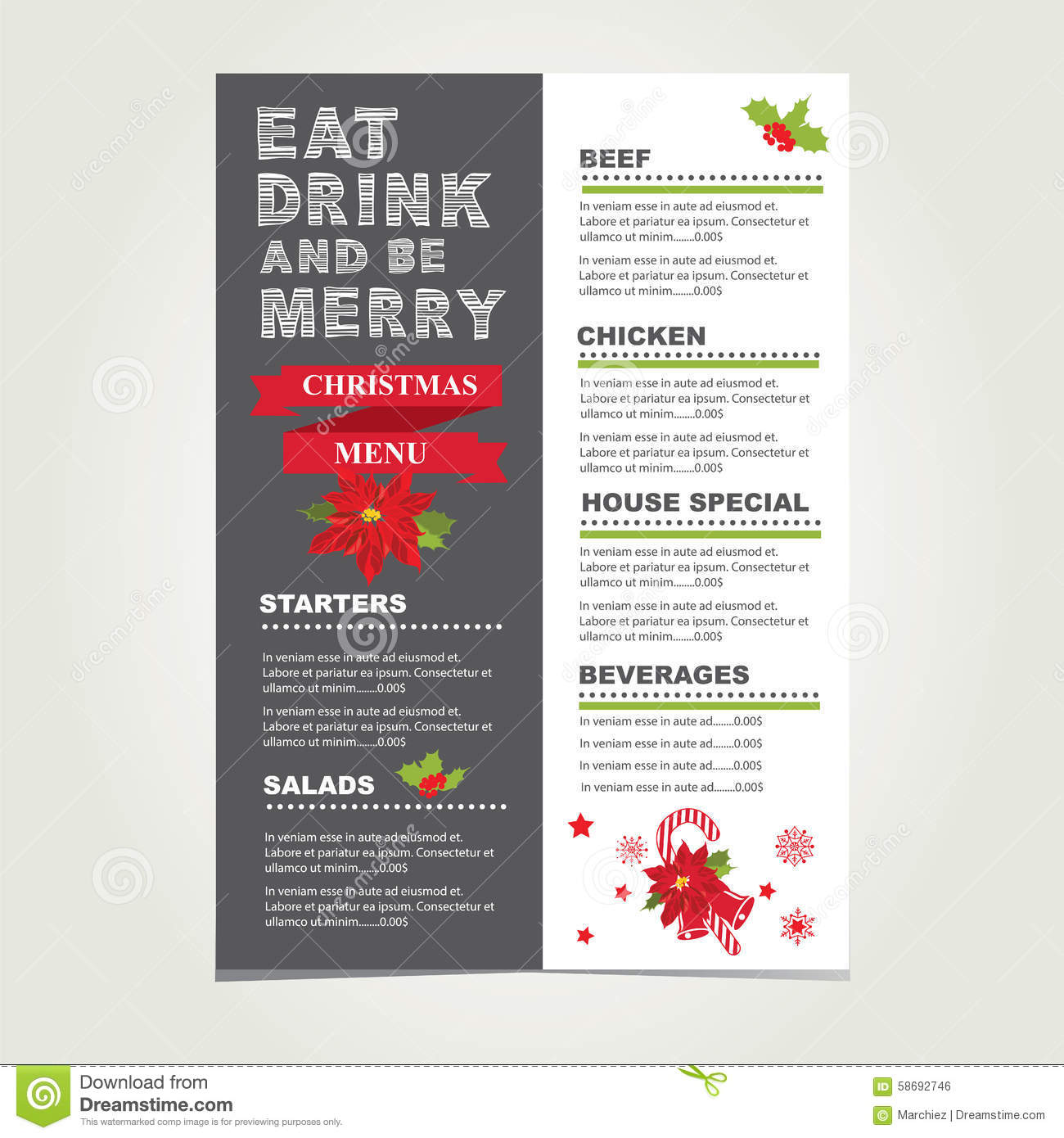 Christmas Party Food And Drinks Flyer Template