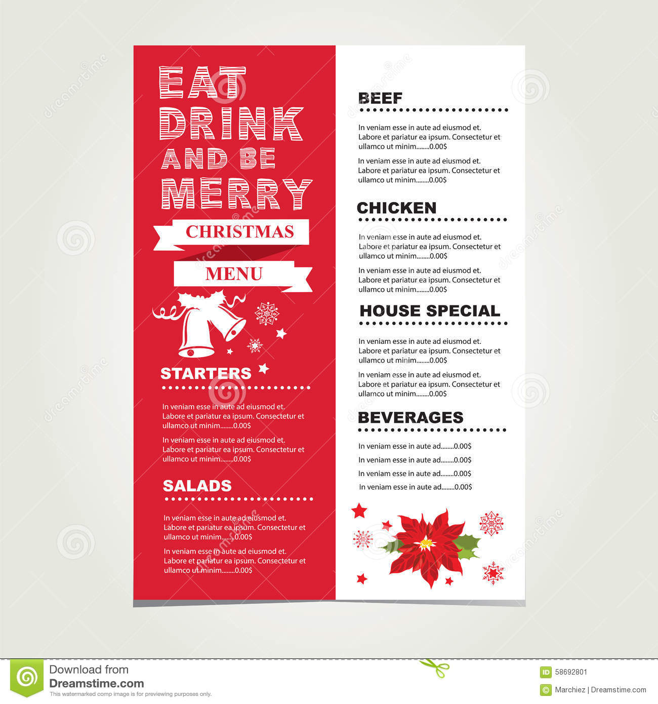 Christmas restaurant and party menu invitation stock vector christmas restaurant and party menu invitation template infographic stopboris Choice Image