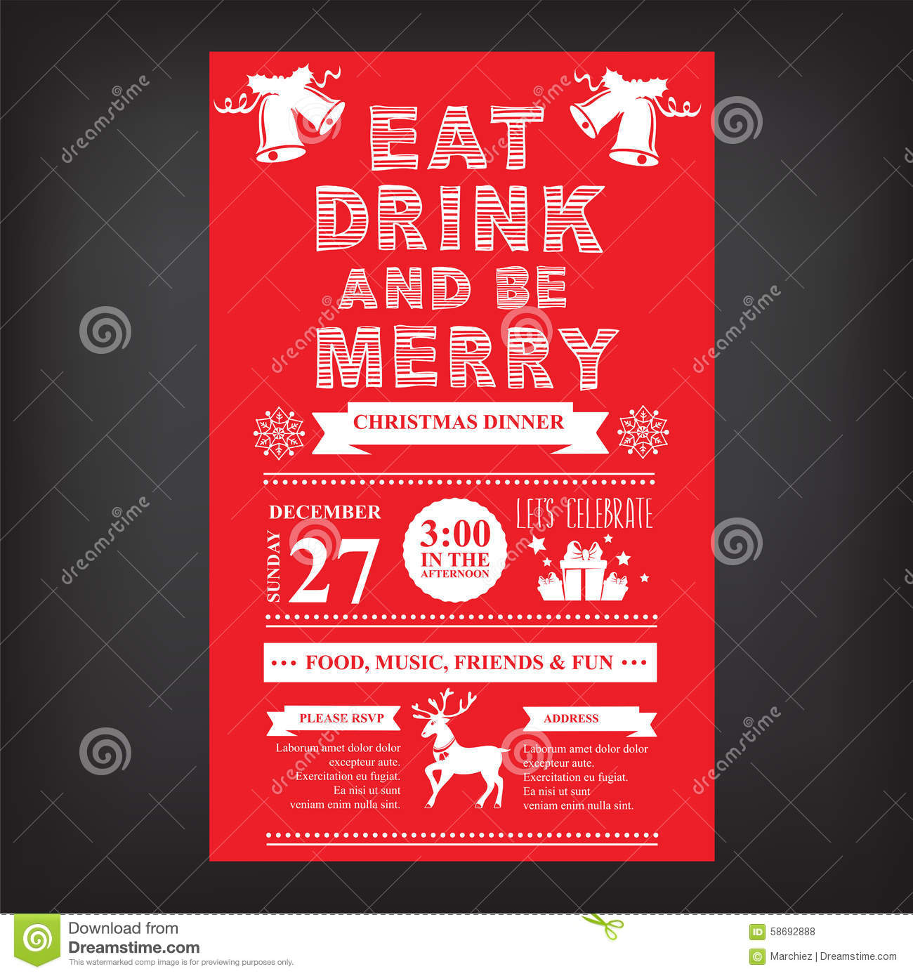 Christmas Restaurant And Party Menu, Invitation. Paper, Flyer.  Christmas Dinner Invitations Templates Free