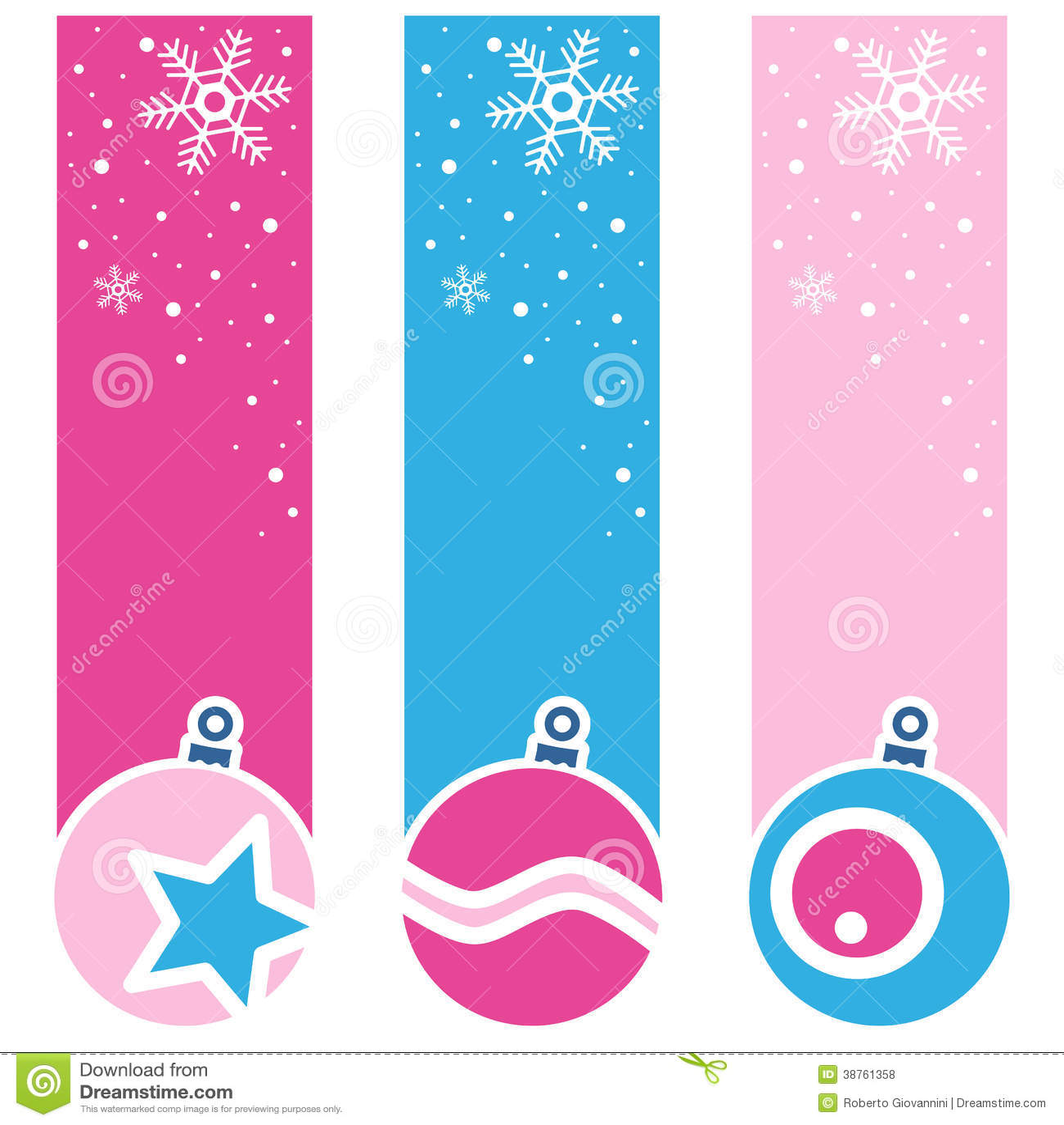 Christmas retro balls vertical banners royalty free stock