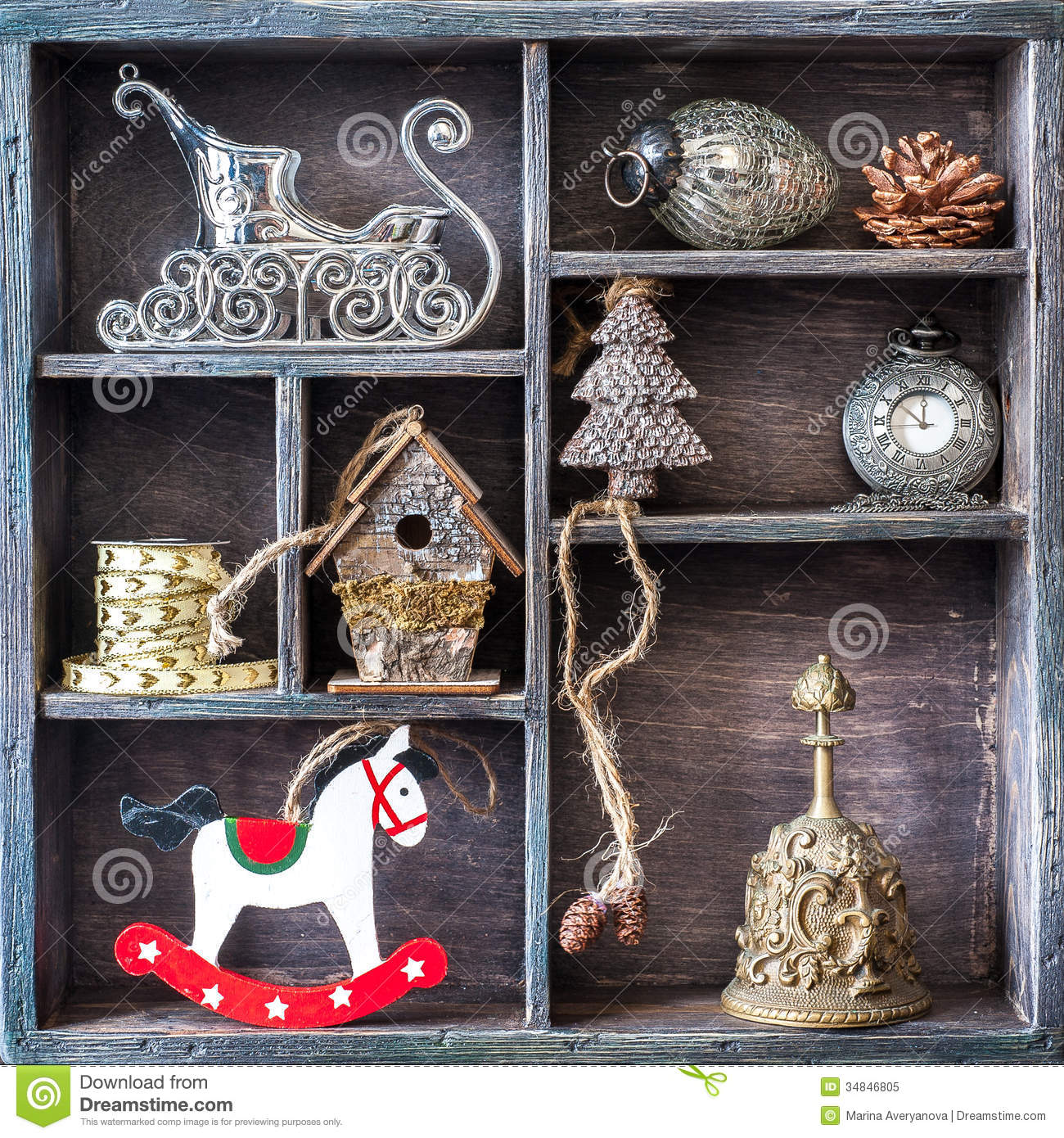 Christmas Retro Collage With Toys And Decorations Royalty