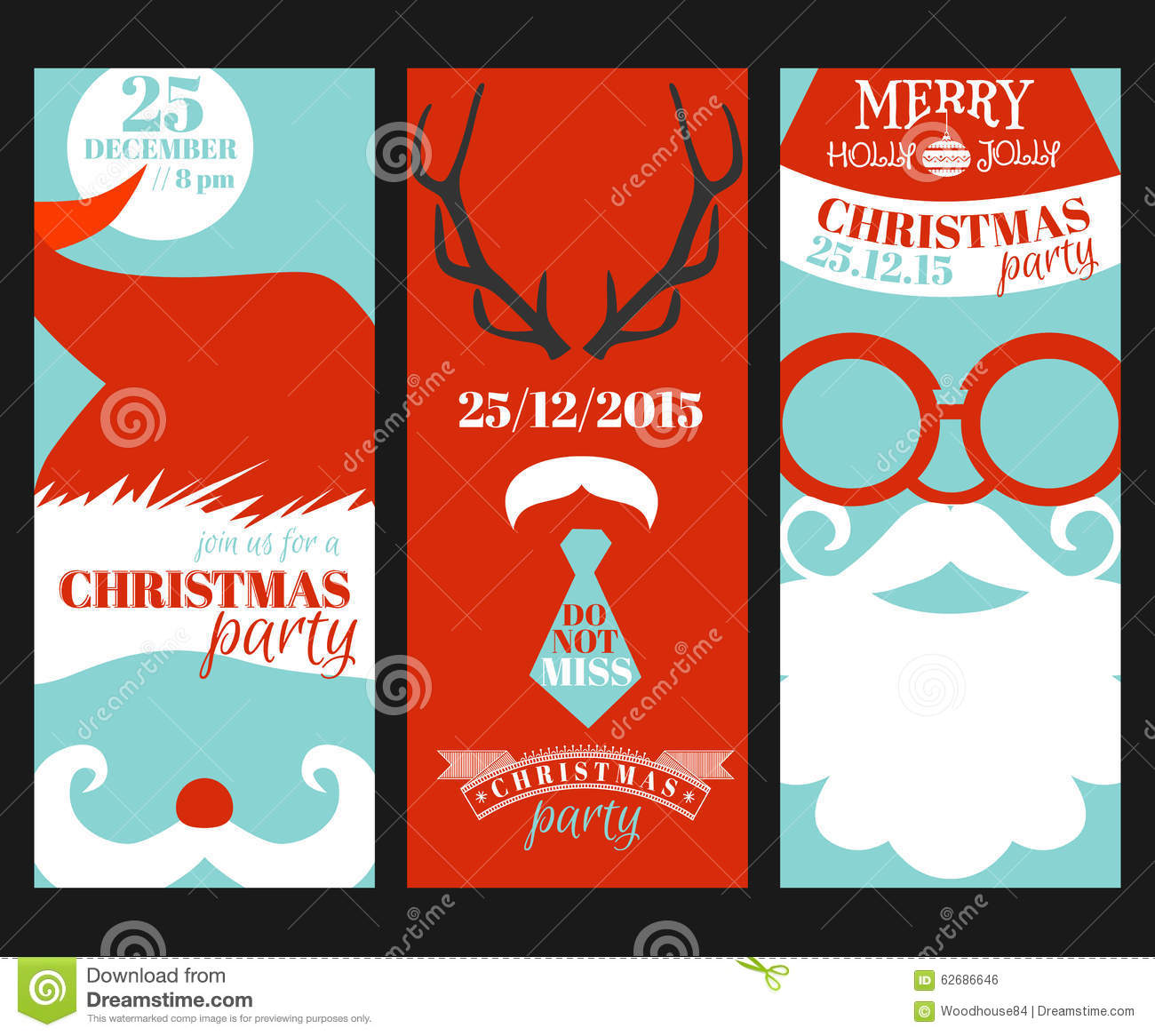 Christmas Retro Party Cards Stock Vector Image 62686646