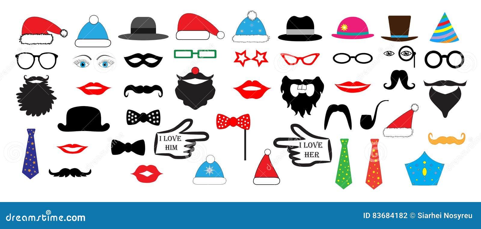 Christmas Retro Party set - Glasses, hats, lips, mustaches, masks