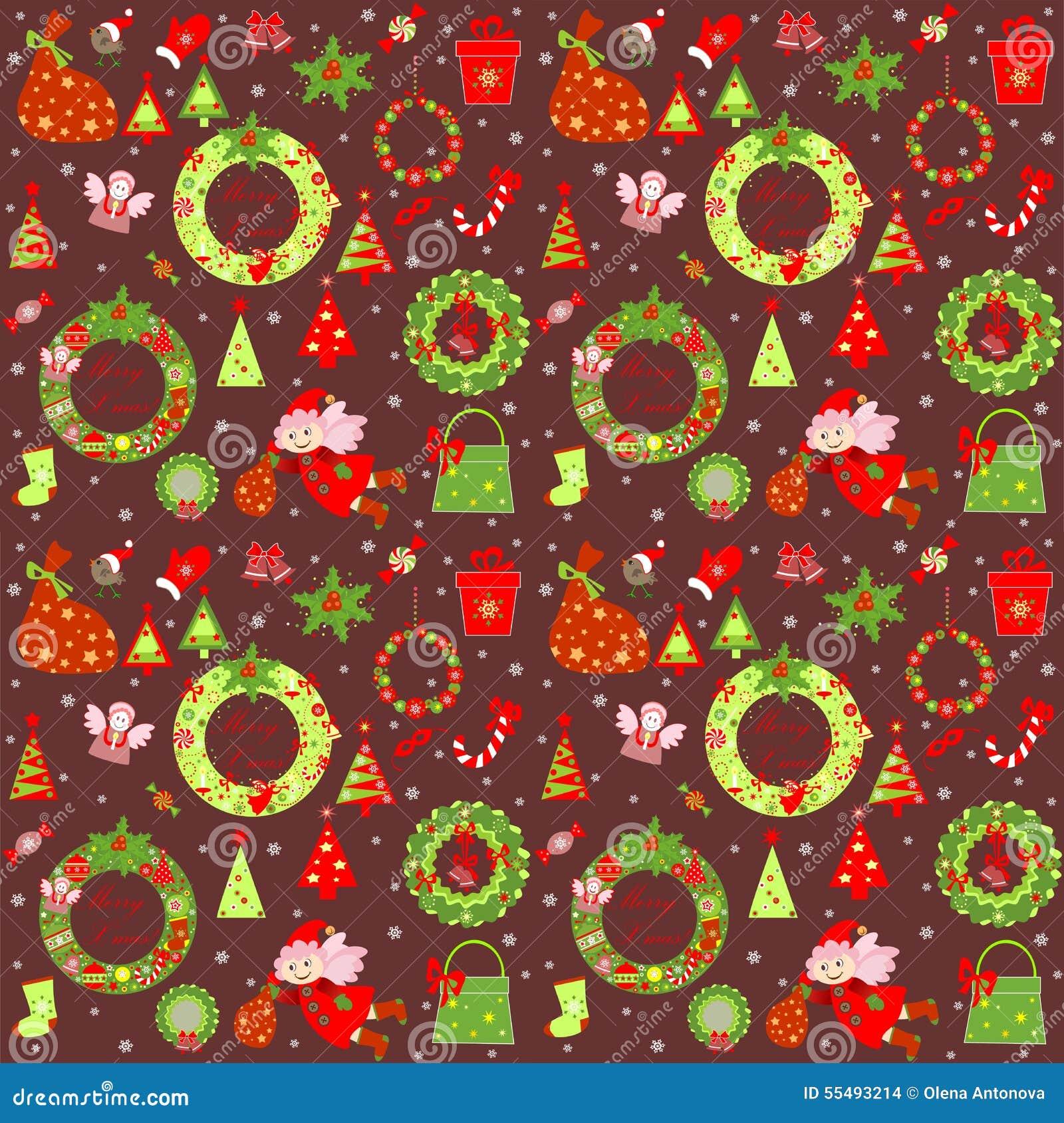 Christmas Retro Wallpaper Stock Vector. Illustration Of