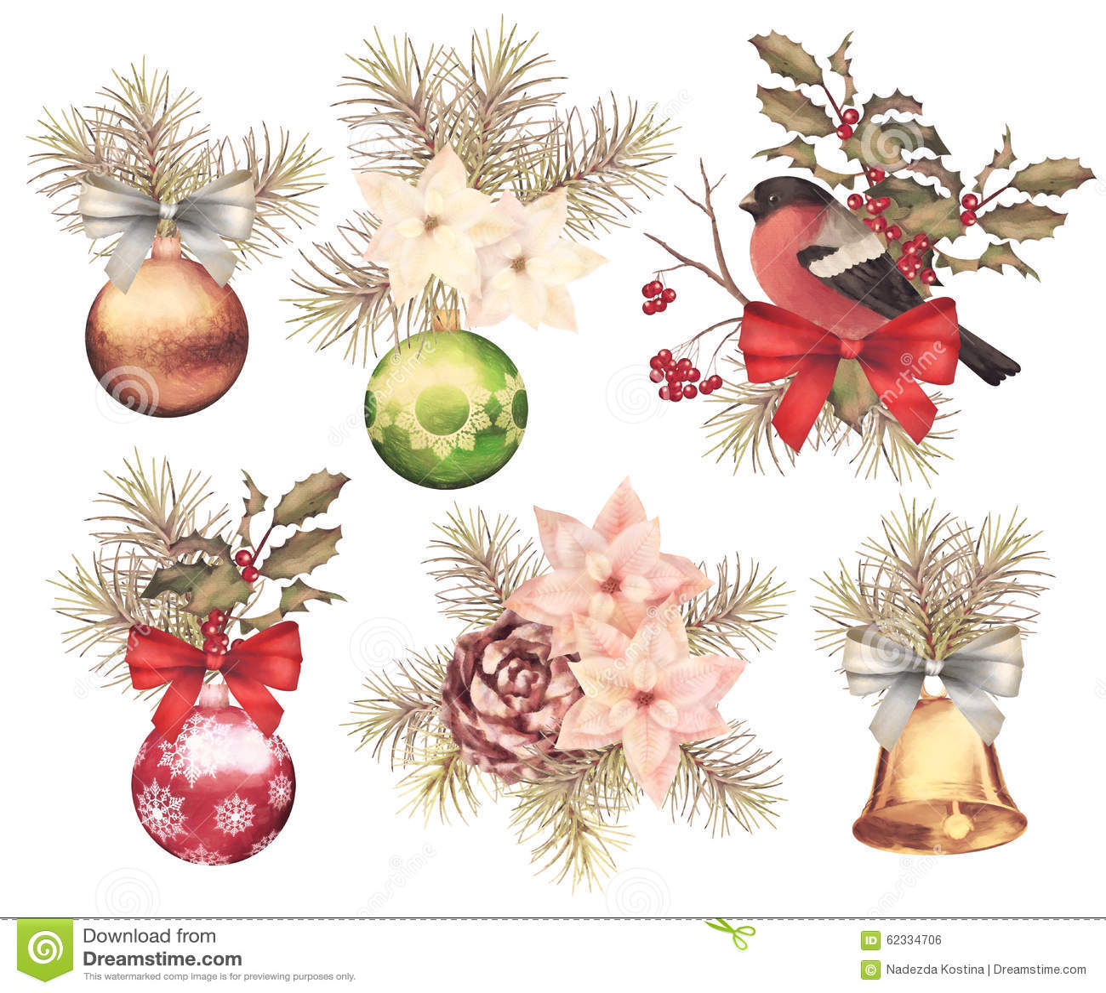Christmas retro watercolor composition set stock