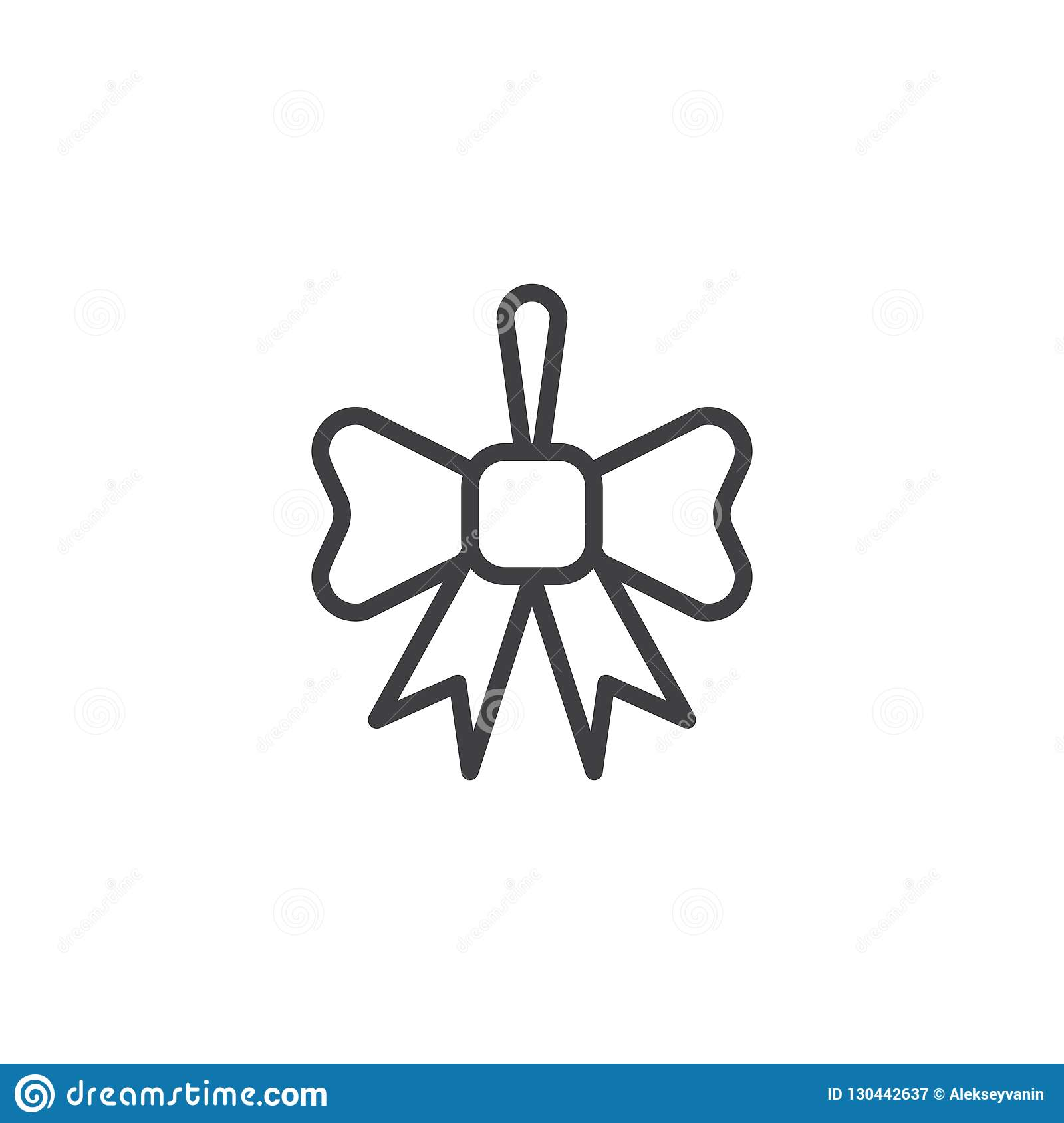 Christmas Ribbon Bow Outline Icon Stock Vector ...