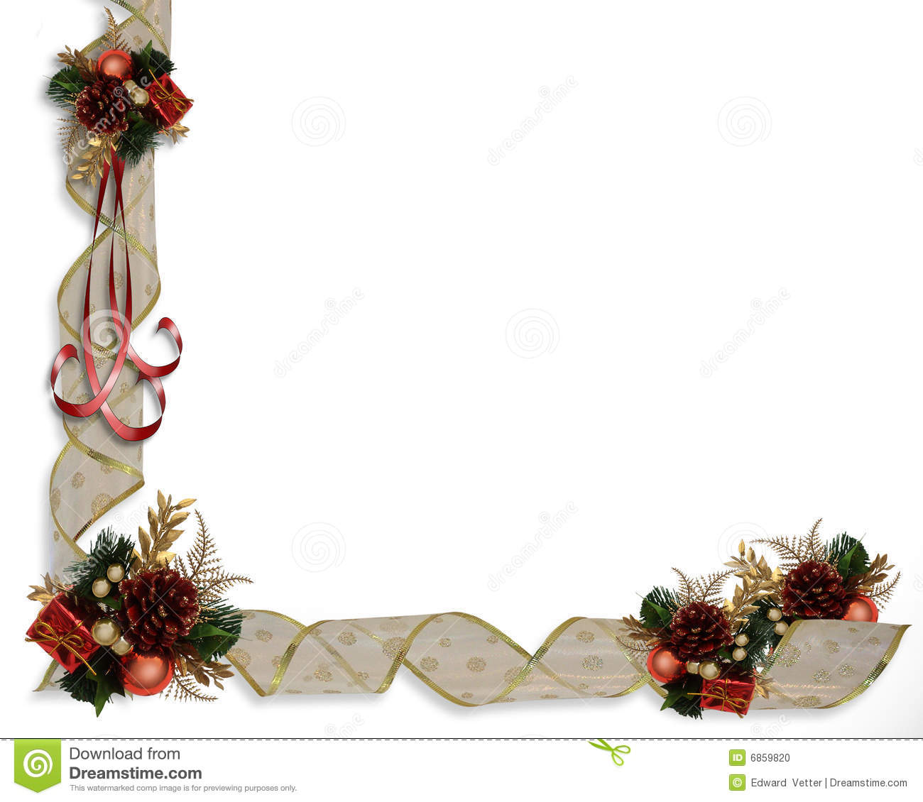 Christmas ribbons border stock illustration image of